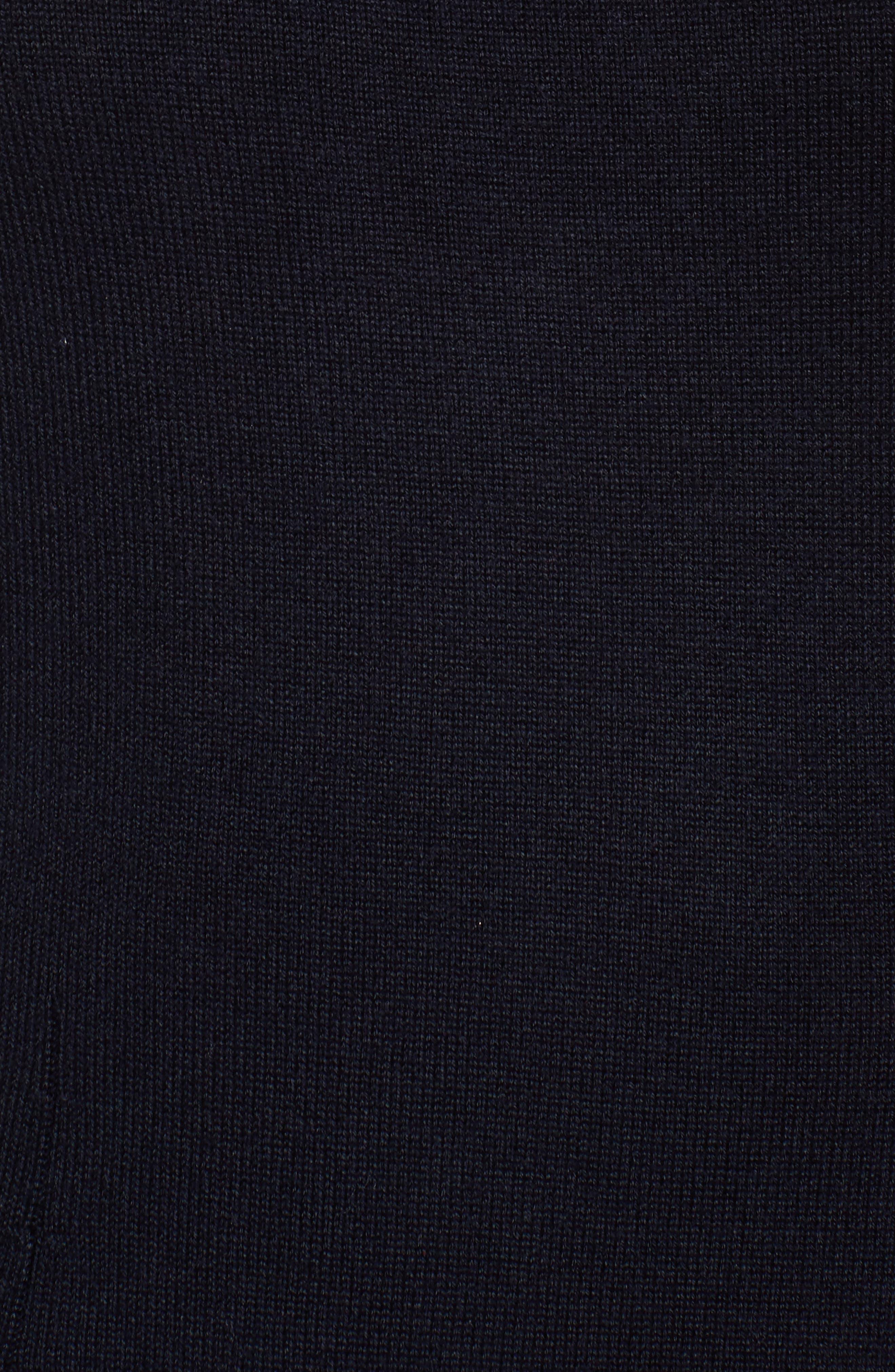 Stripe Knit Flared Dress,                             Alternate thumbnail 5, color,                             Ivory/ Navy