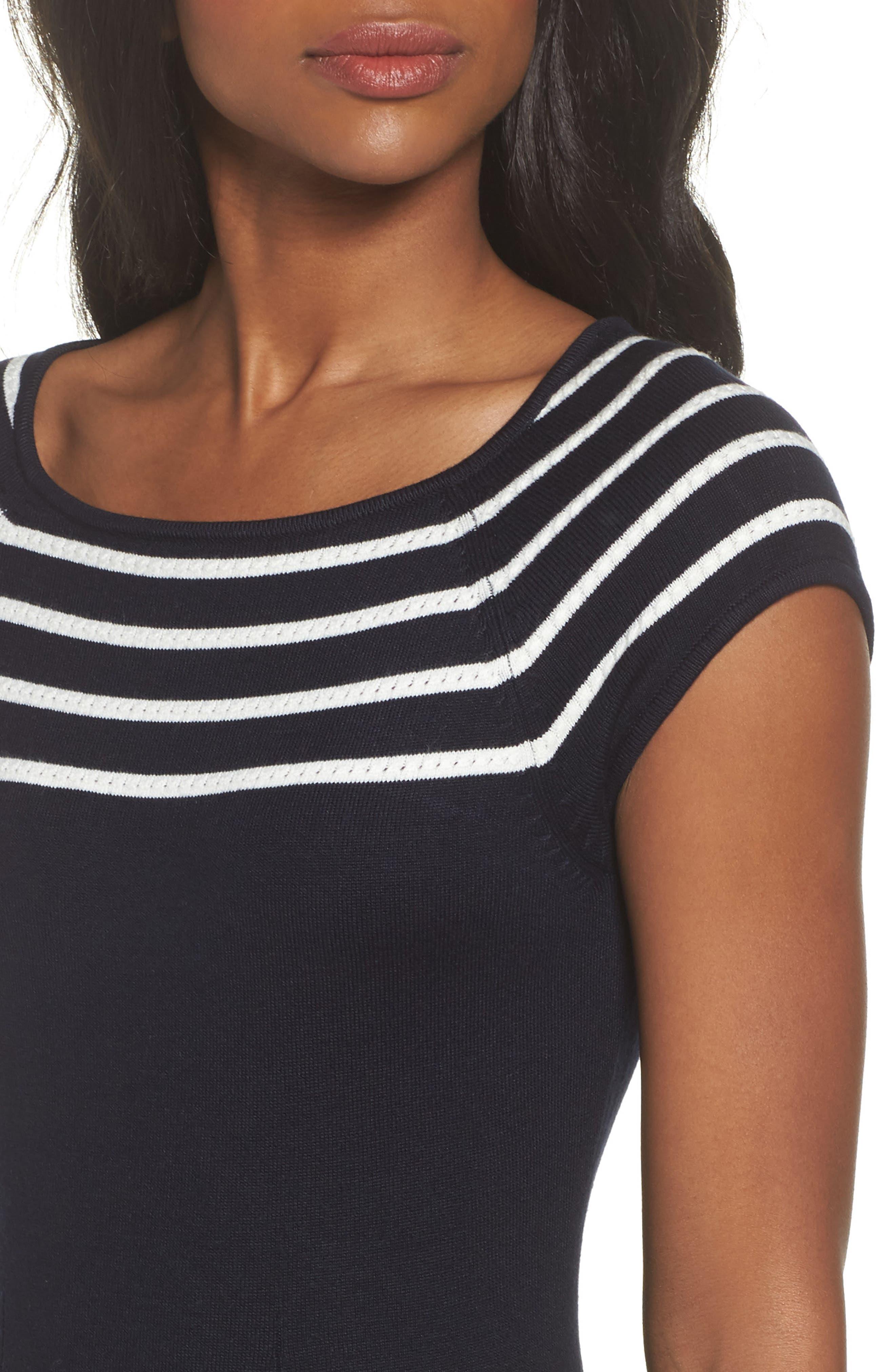 Stripe Knit Flared Dress,                             Alternate thumbnail 4, color,                             Ivory/ Navy