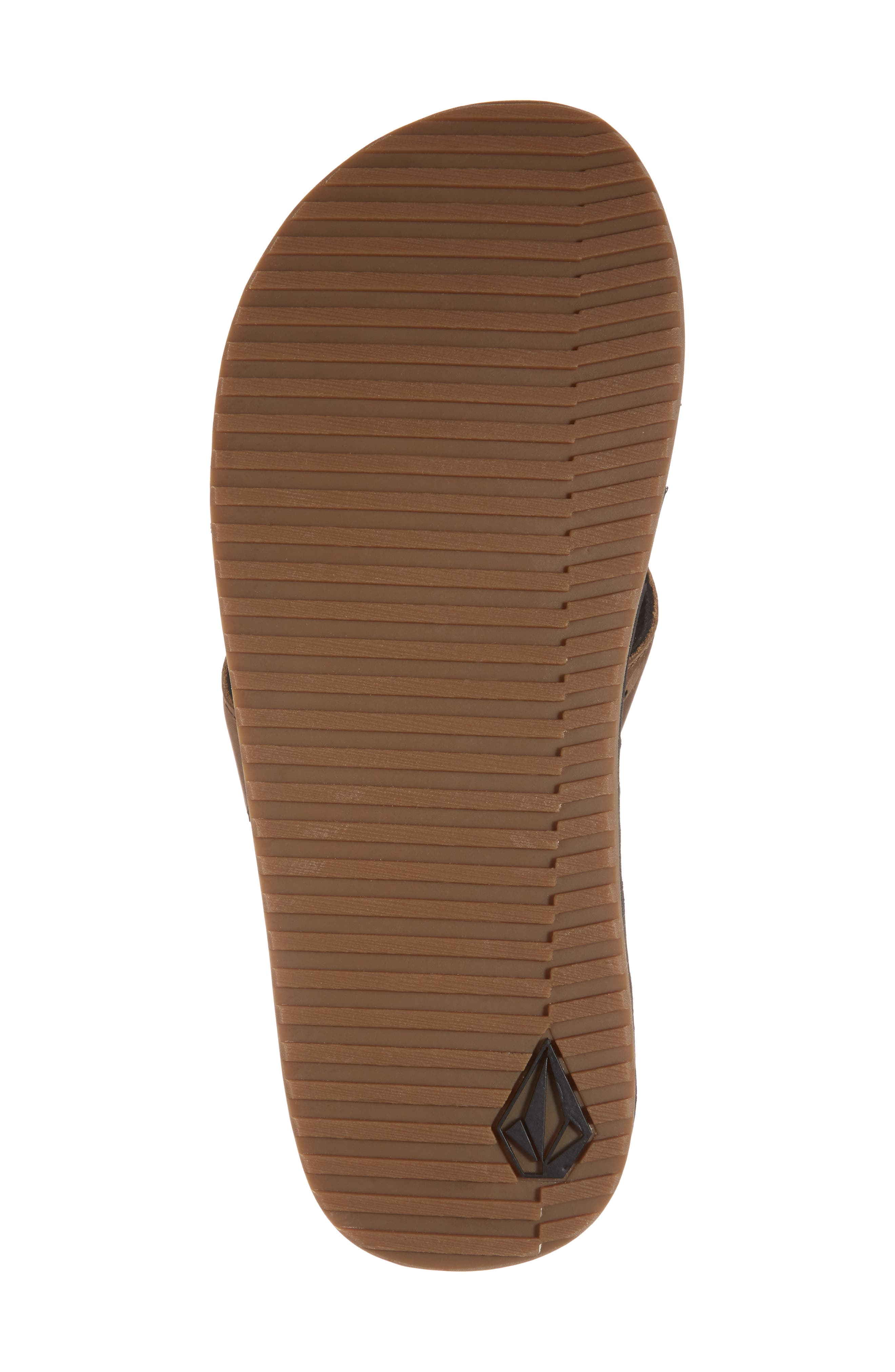 'Recliner' Leather Flip Flop,                             Alternate thumbnail 6, color,                             Brown Leather