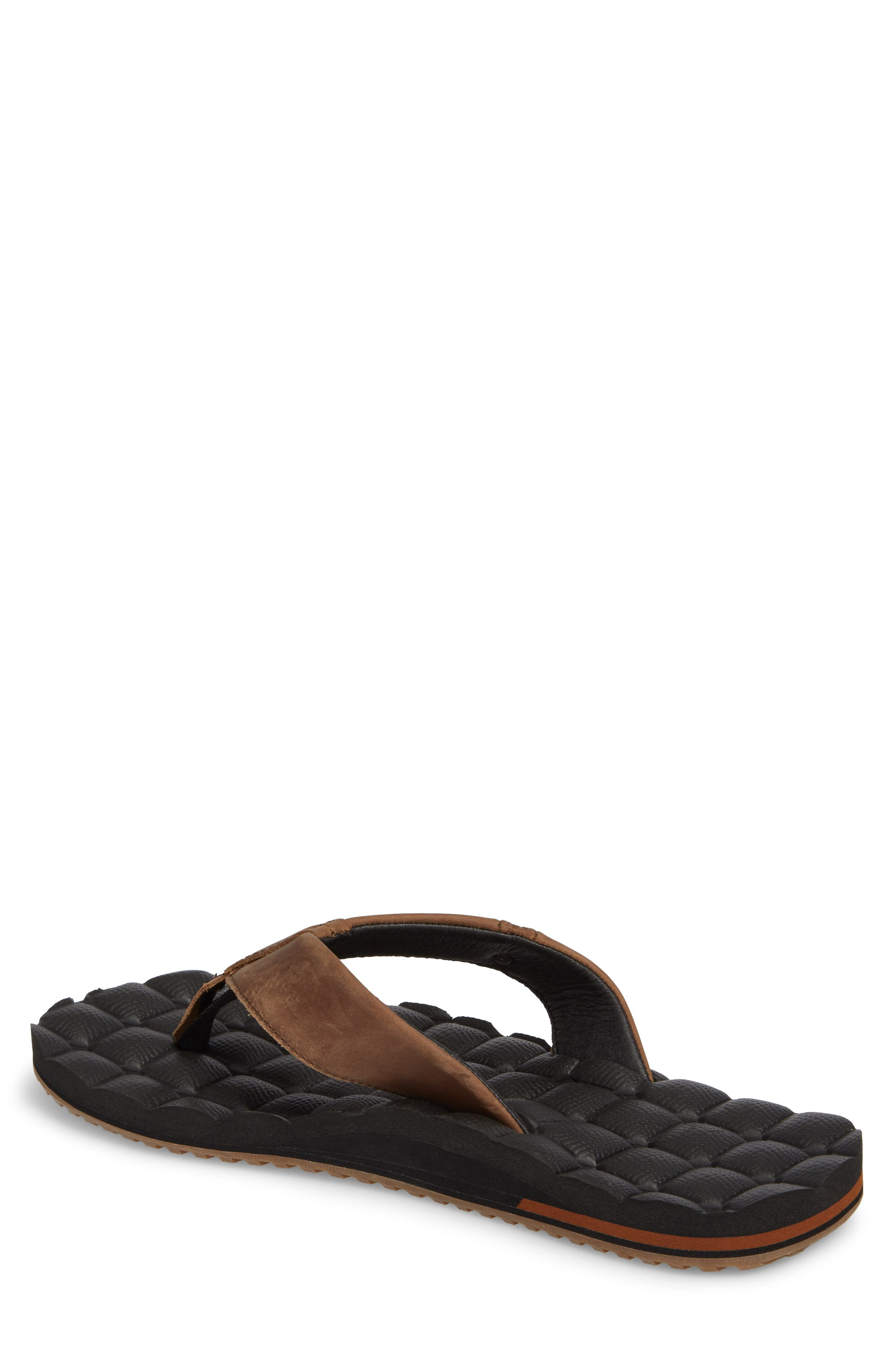 'Recliner' Leather Flip Flop,                             Alternate thumbnail 2, color,                             Brown Leather