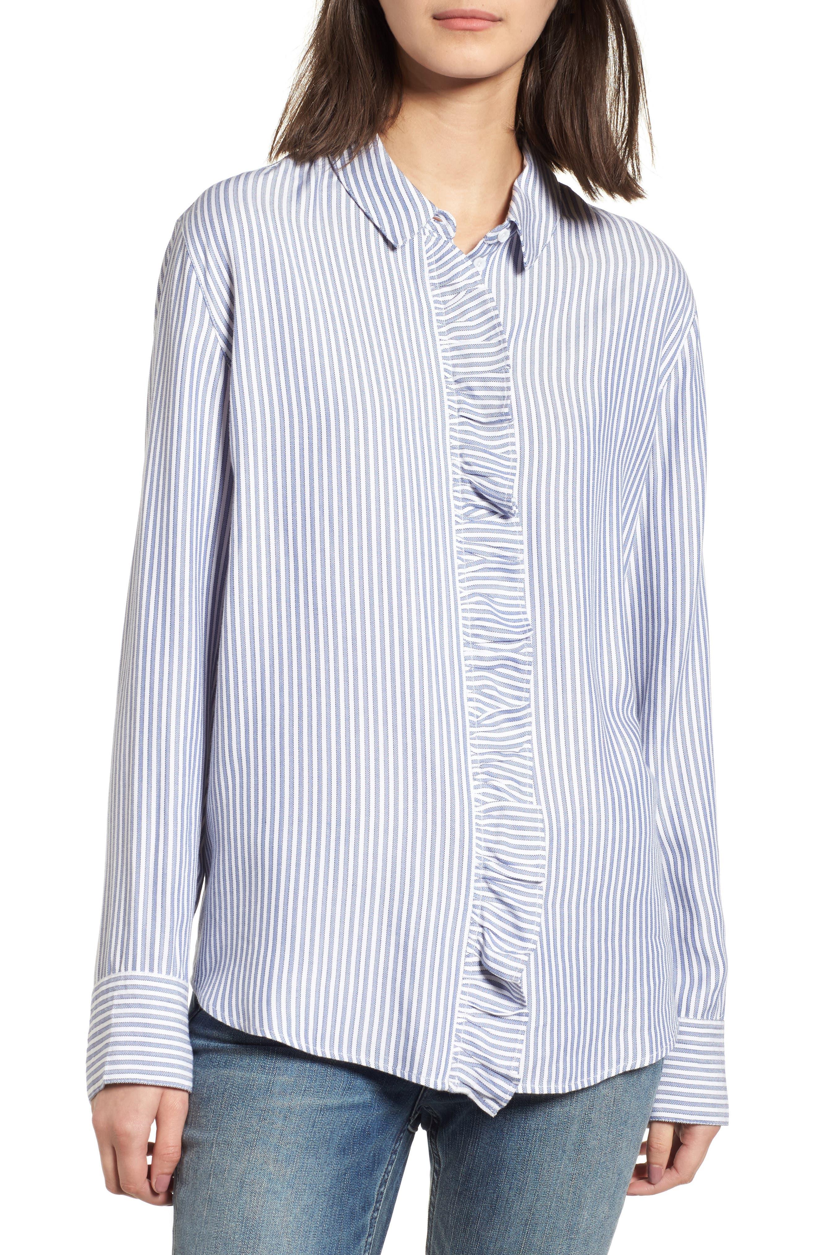 Stripe Ruffle Shirt,                             Main thumbnail 1, color,                             White Double Oxford Stripe