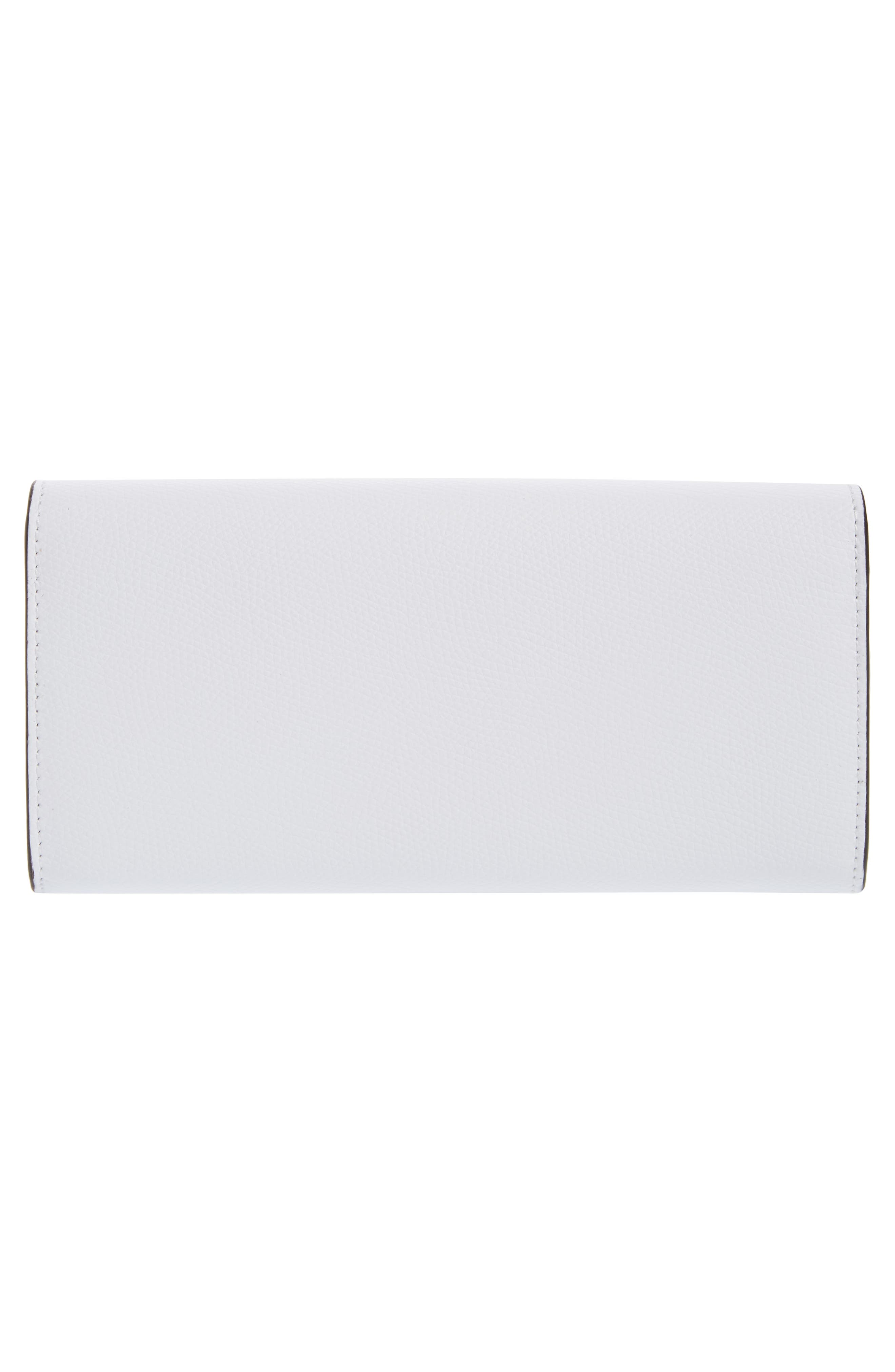 Logo Flap Leather Continental Wallet,                             Alternate thumbnail 4, color,                             White