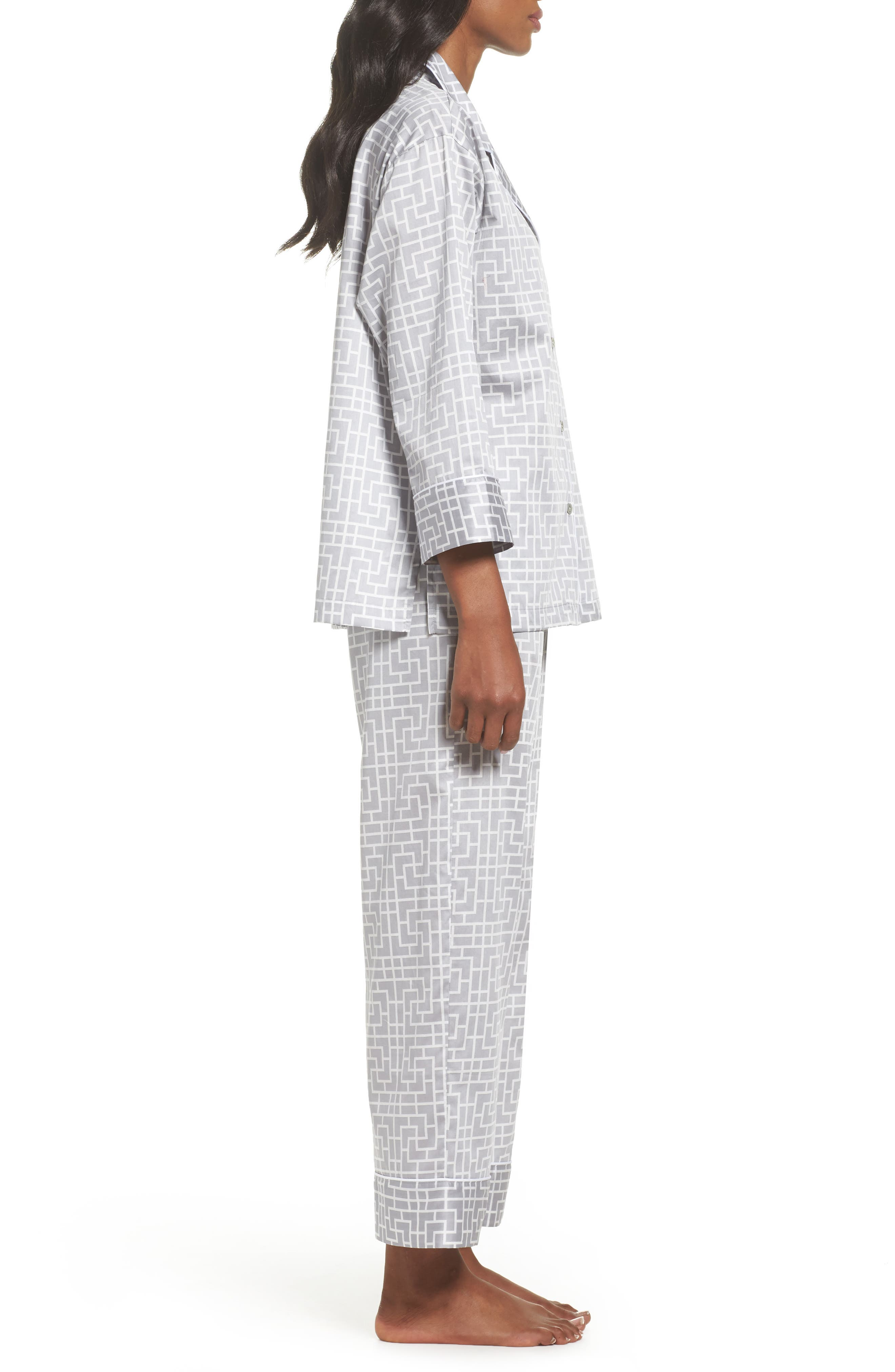 Abstract Maze Sateen Pajamas,                             Alternate thumbnail 3, color,                             Lead