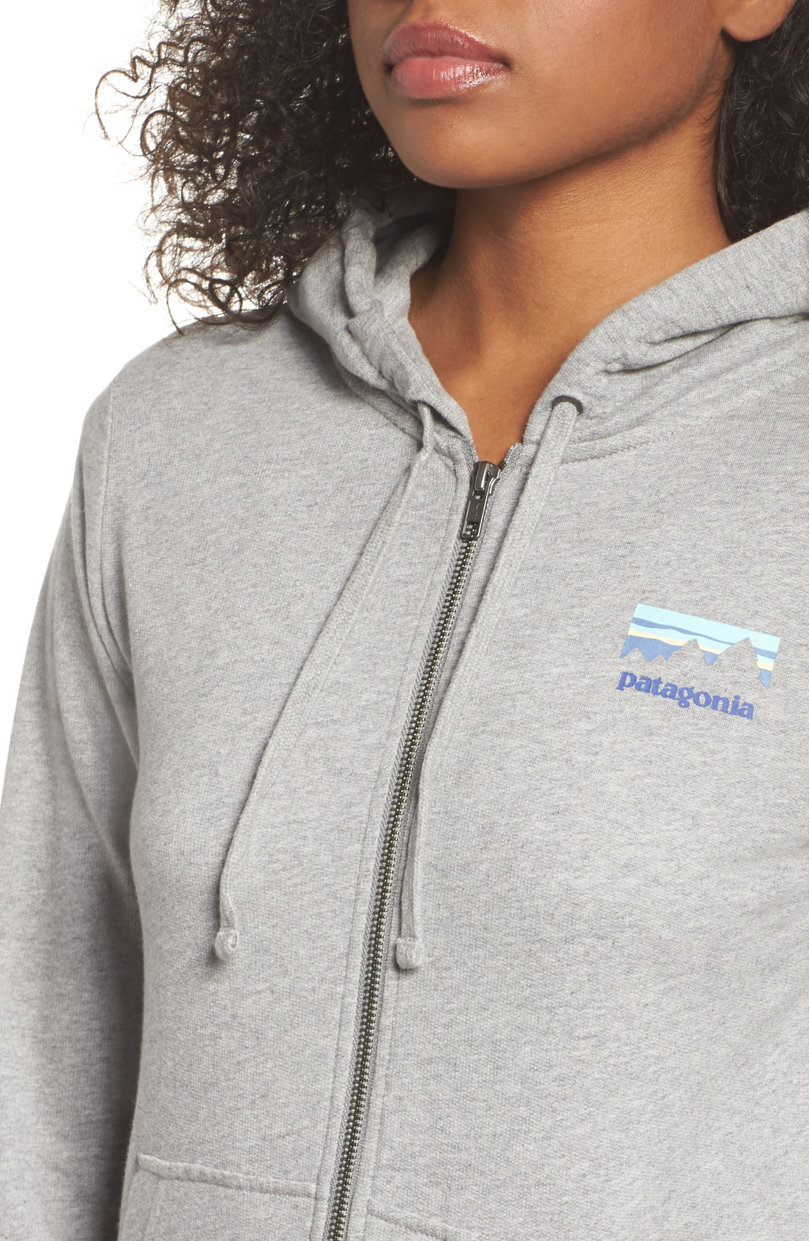 Shop Sticker Zip Hoodie,                             Alternate thumbnail 4, color,                             Feather Grey W/ Viking Blue
