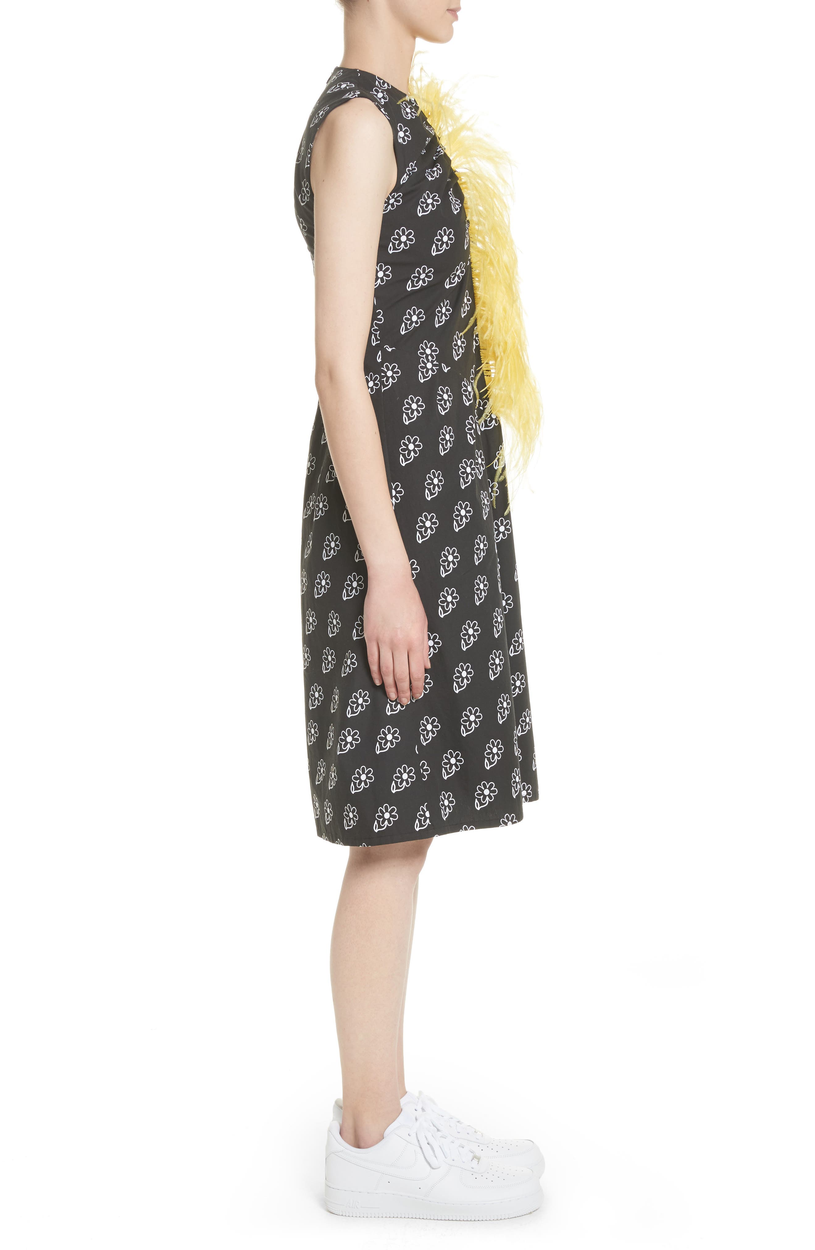 Bunny Sheath Dress with Ostrich Feather Trim,                             Alternate thumbnail 3, color,                             Black Daisy