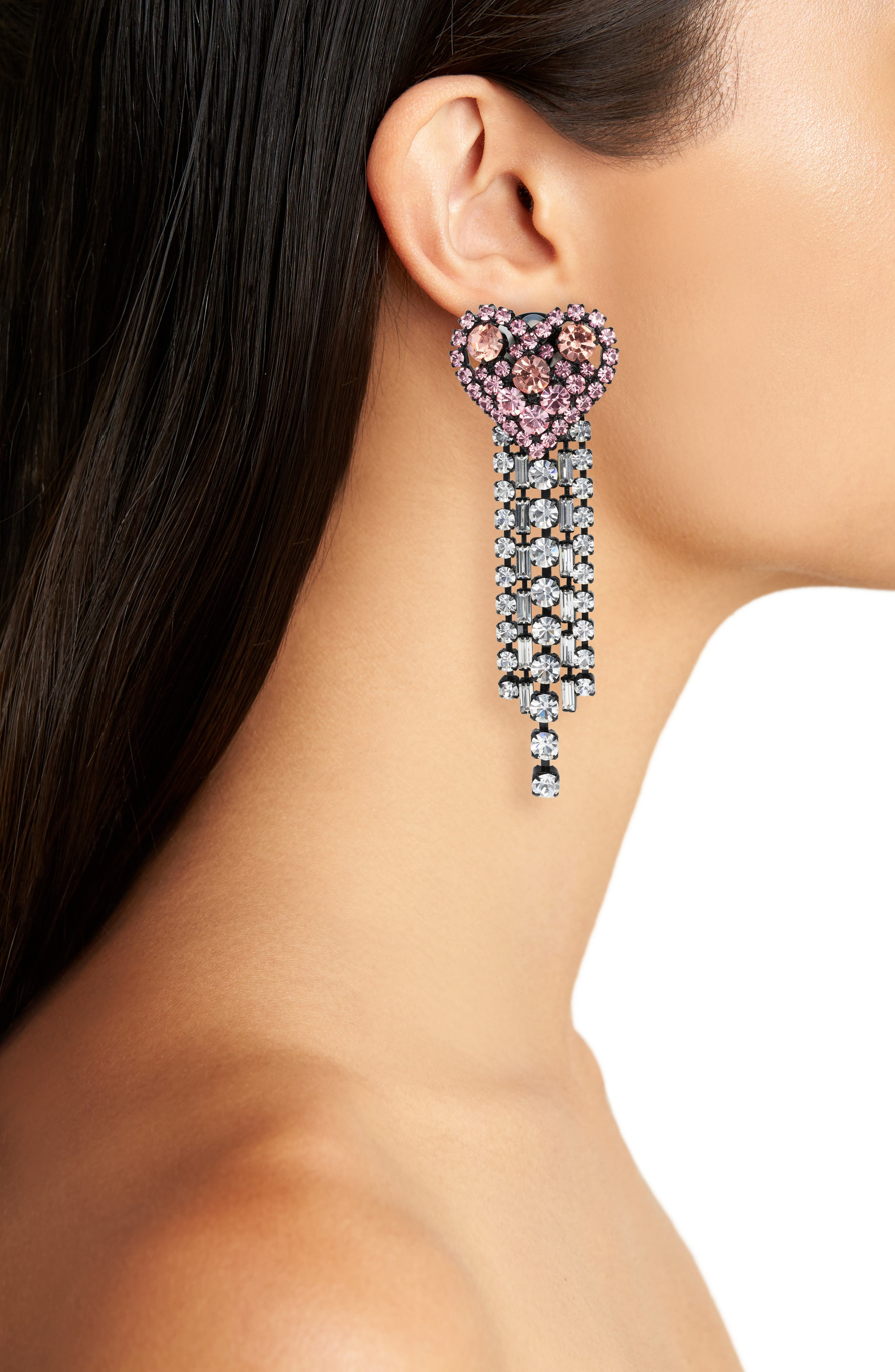 Heart Fall Crystal Earrings,                             Alternate thumbnail 2, color,                             Pink/ Clear