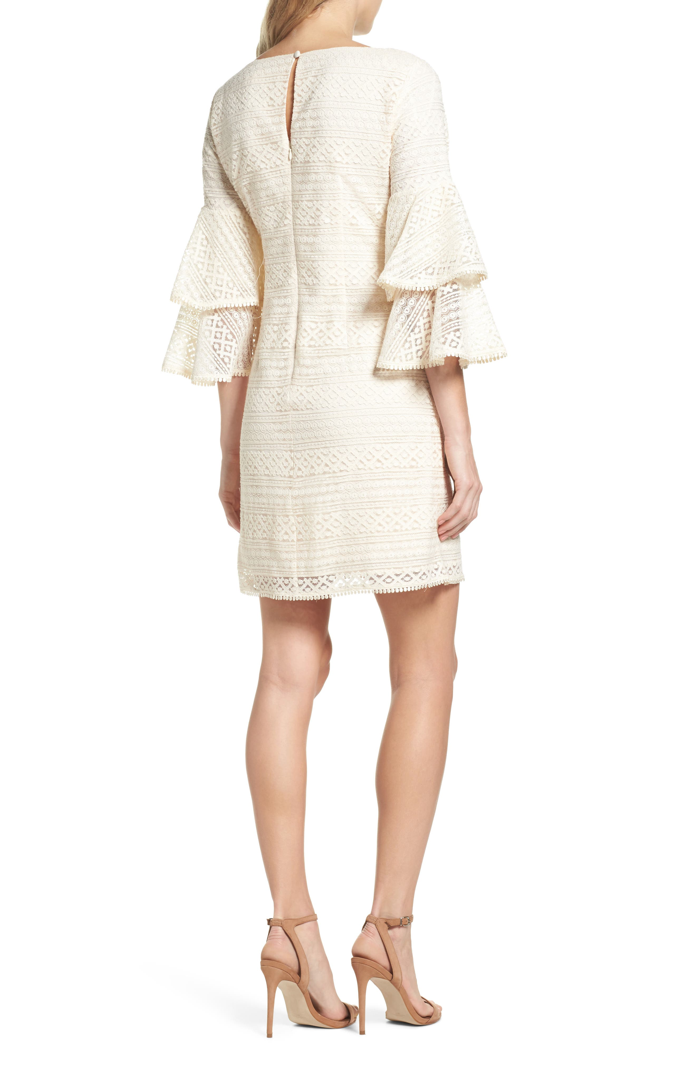 Bell Sleeve Lace Shift Dress,                             Alternate thumbnail 2, color,                             Ivory