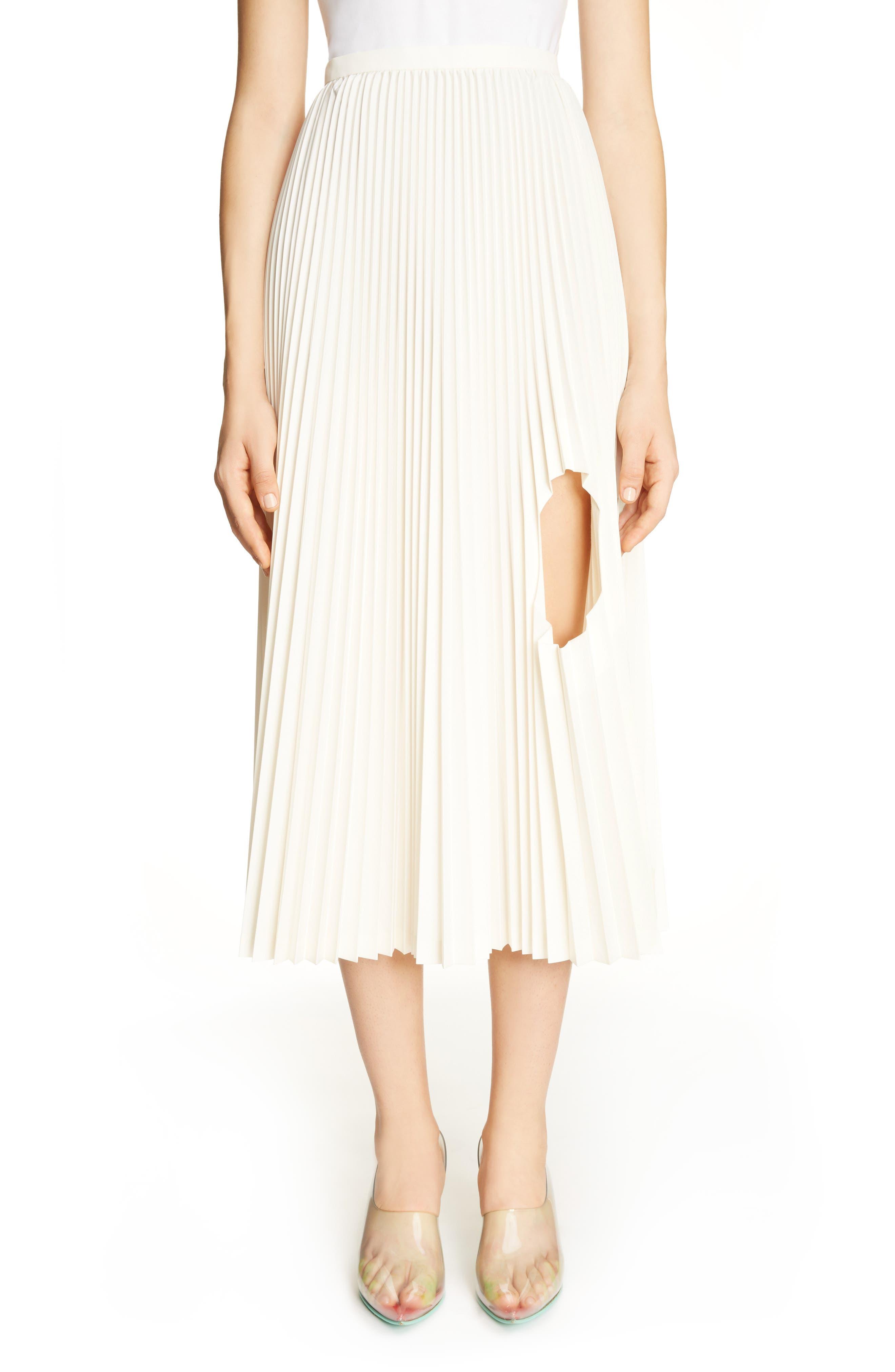 Pleated Keyhole Skirt,                         Main,                         color, White
