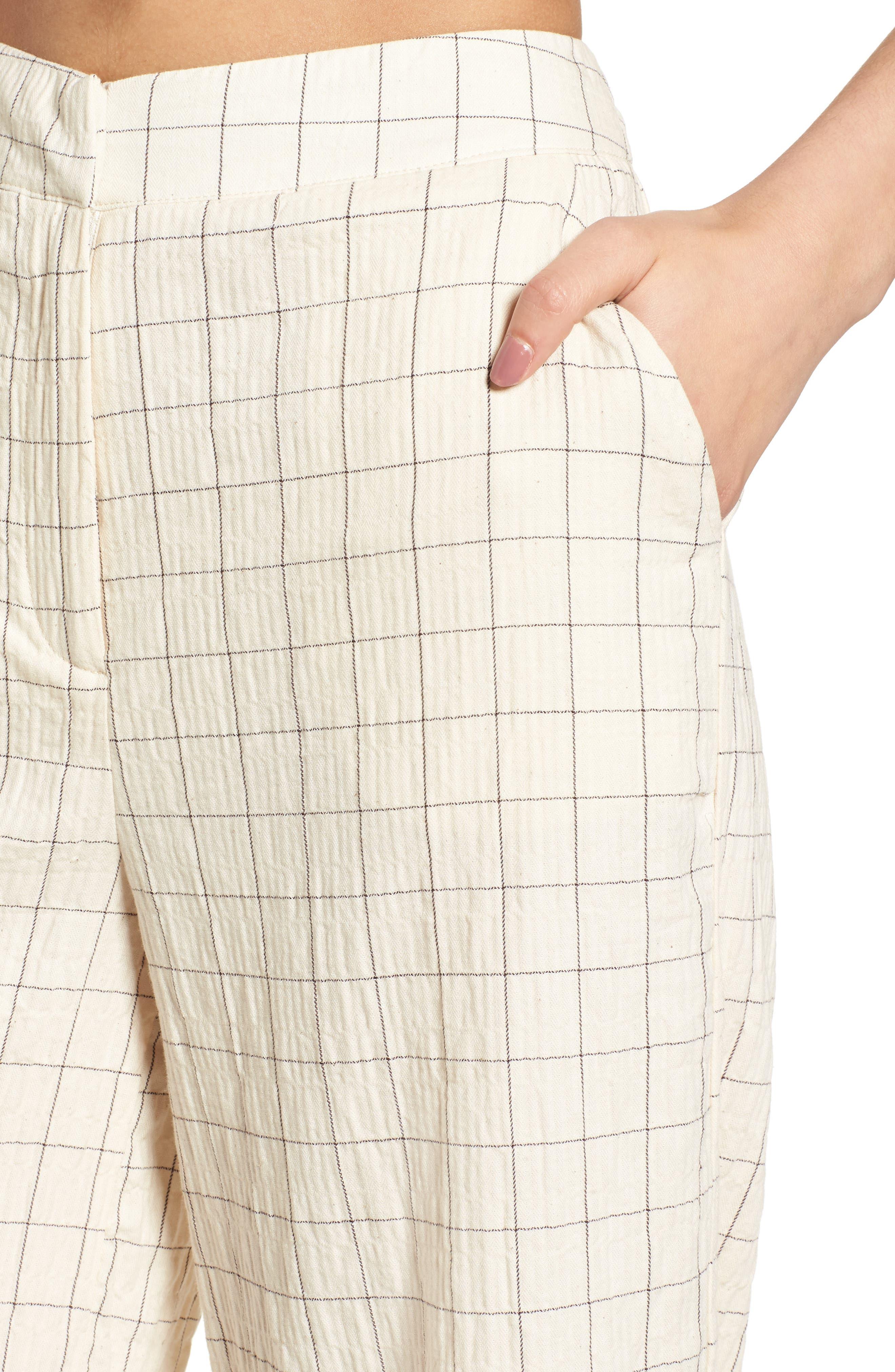 Plaid Culottes,                             Alternate thumbnail 4, color,                             Beige