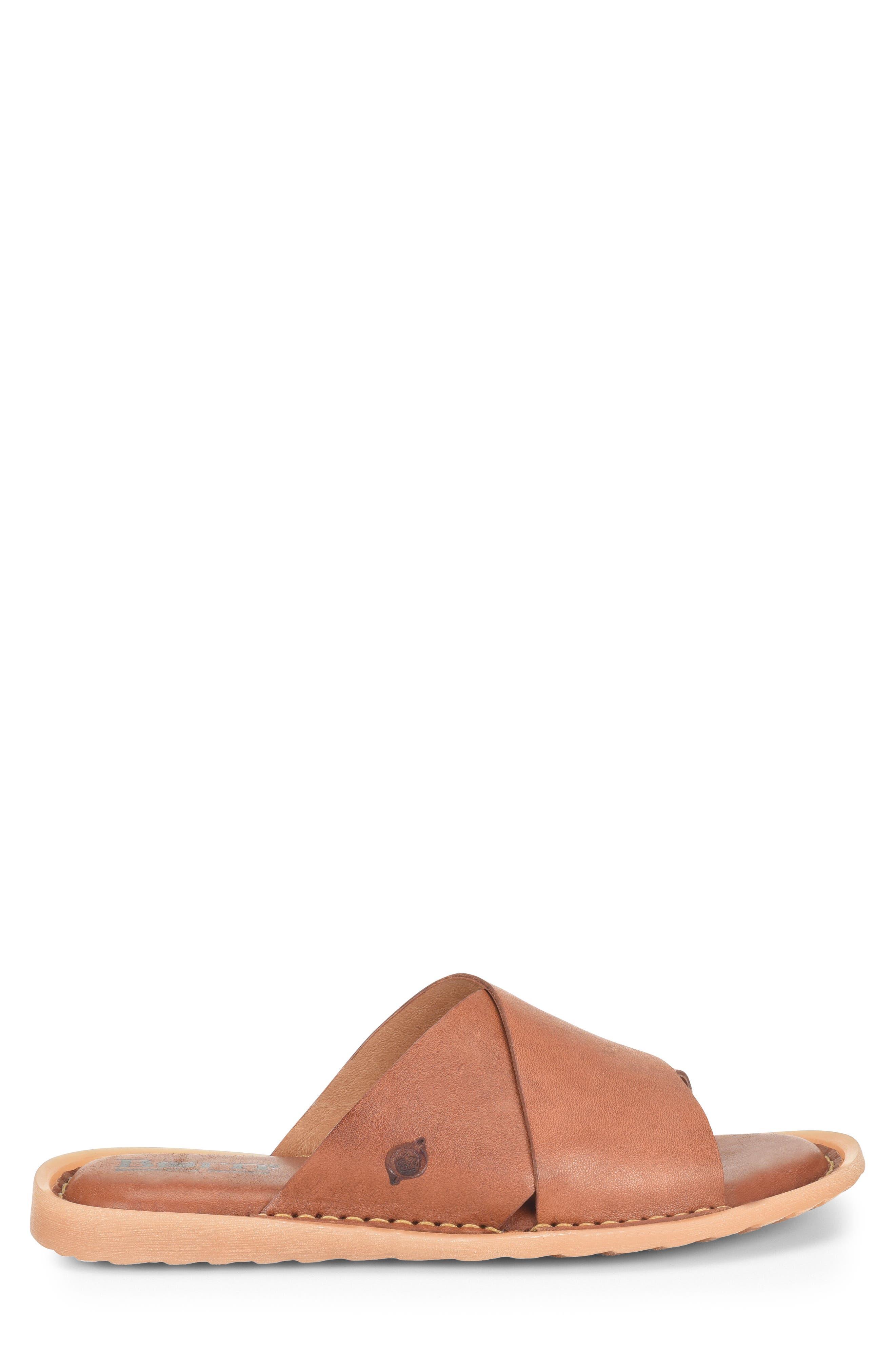 Getaway Slide Sandal,                             Alternate thumbnail 3, color,                             Rust Leather
