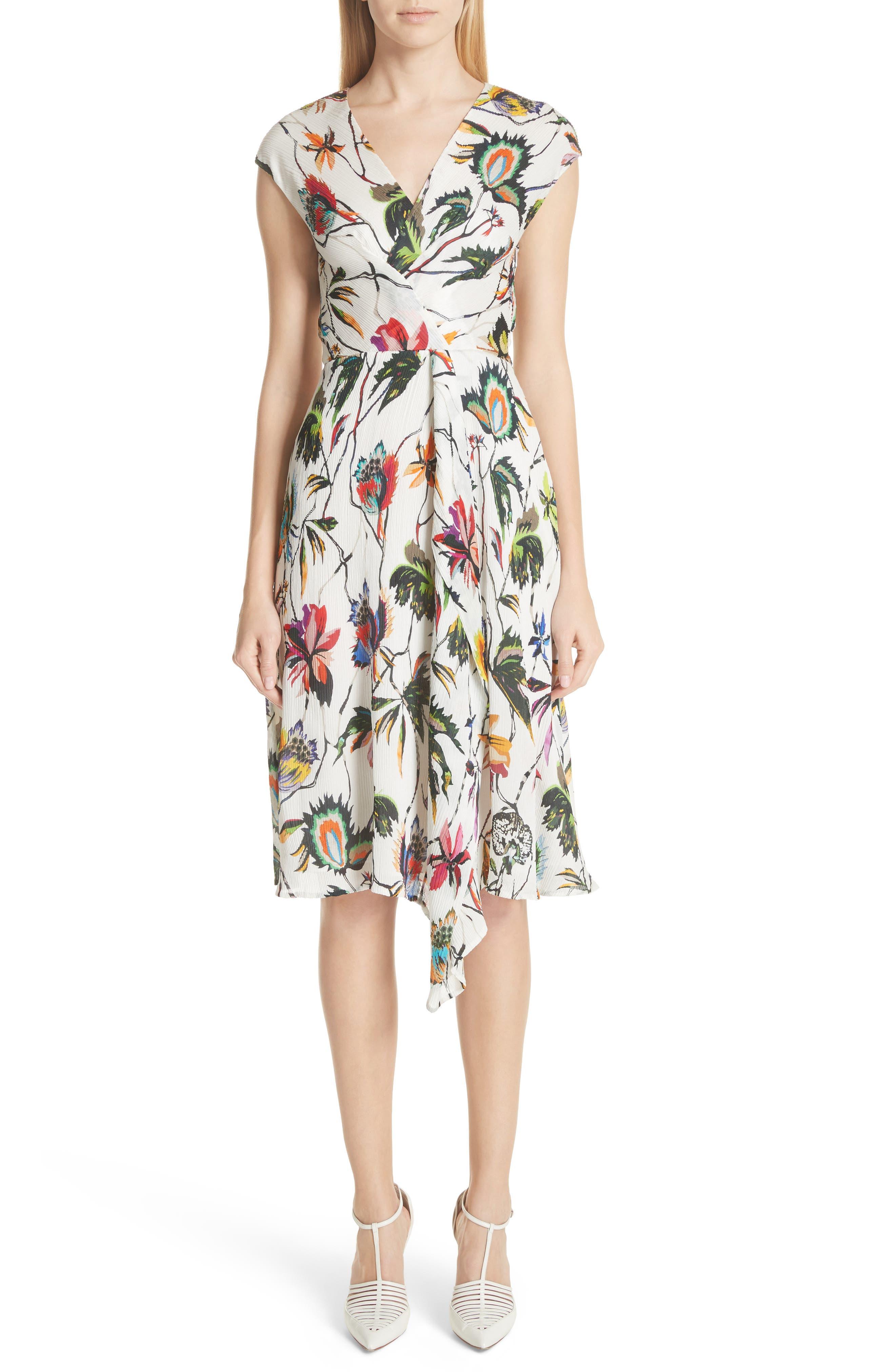 Jason Wu Wrap Detail Plissé Silk Crepon Dress