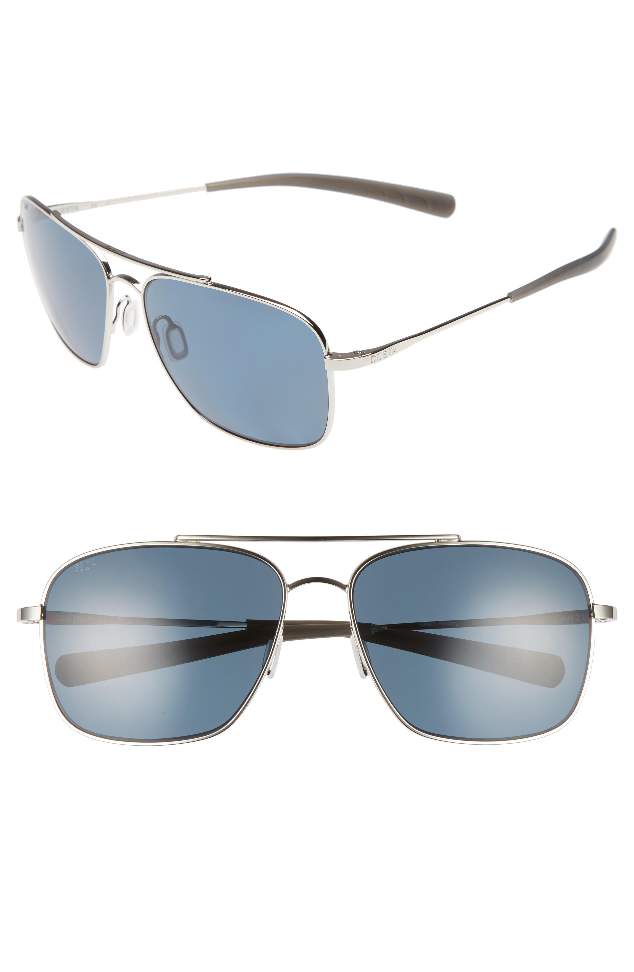 Canaveral 58mm Polarized Sunglasses,                             Main thumbnail 1, color,                             Shiny Palladium/ Grey