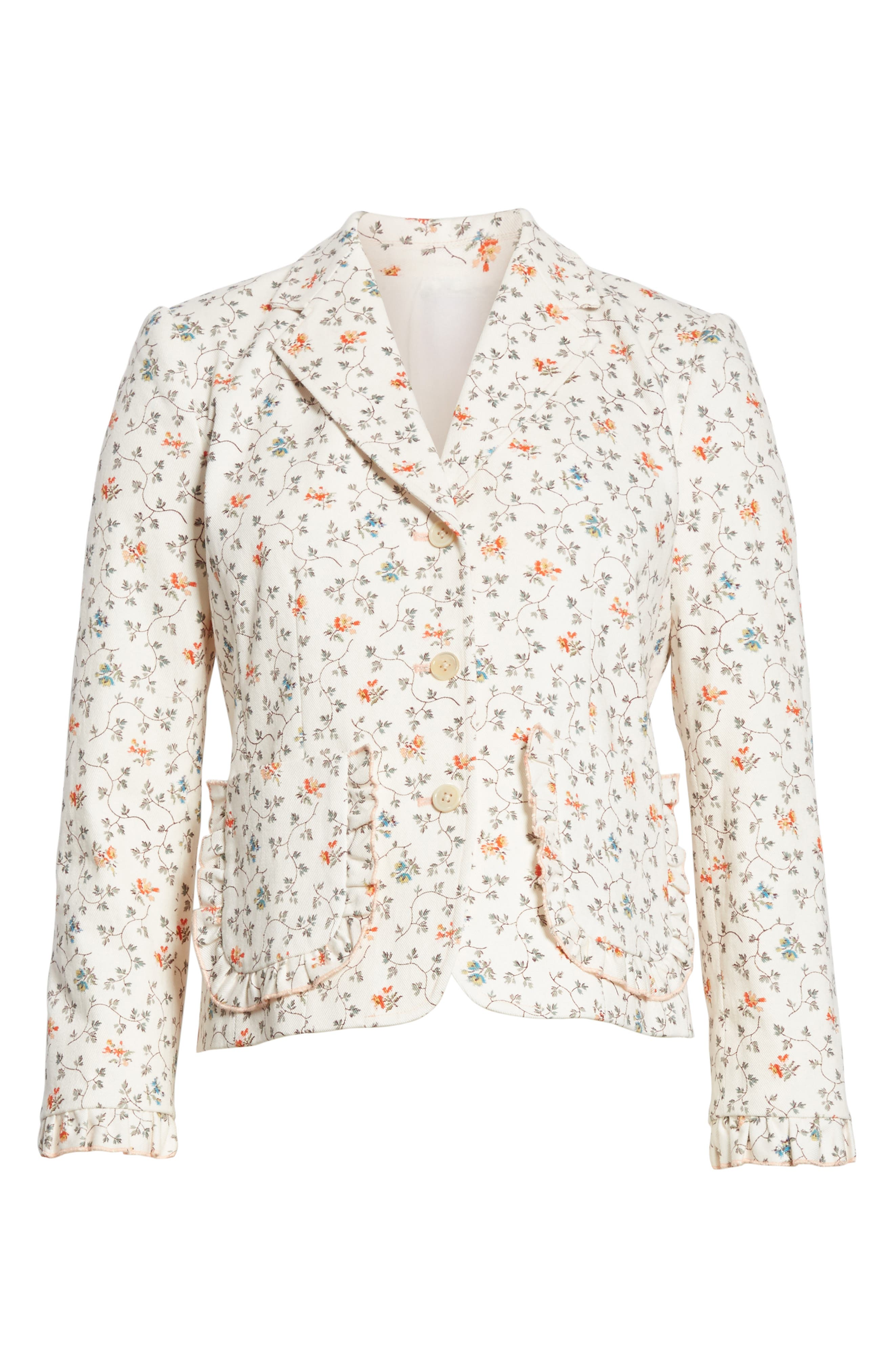 Floral Vine Twill Jacket,                             Alternate thumbnail 6, color,                             Vanilla