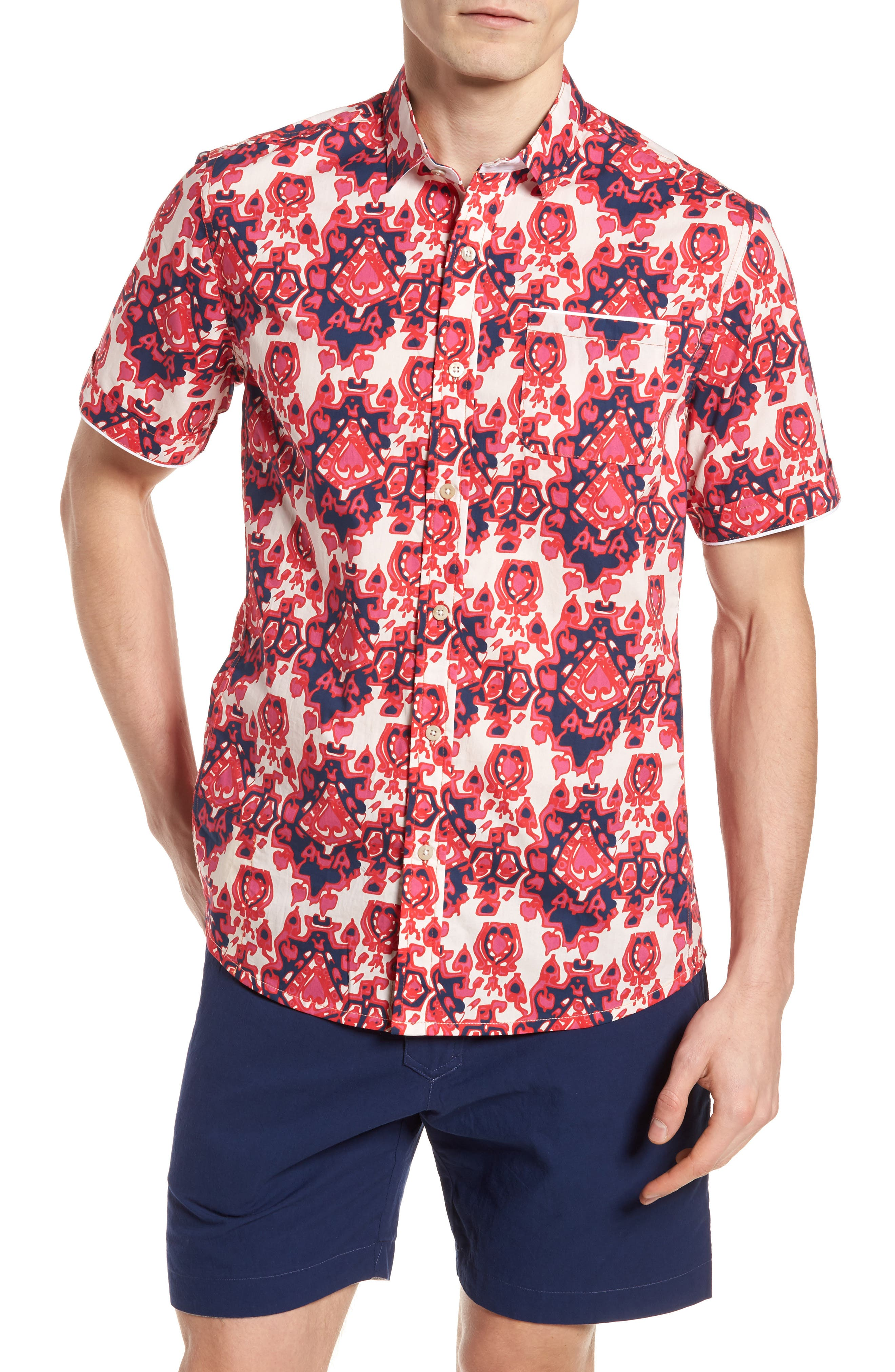 Abstract Culture Woven Shirt,                             Main thumbnail 1, color,                             Punch Red