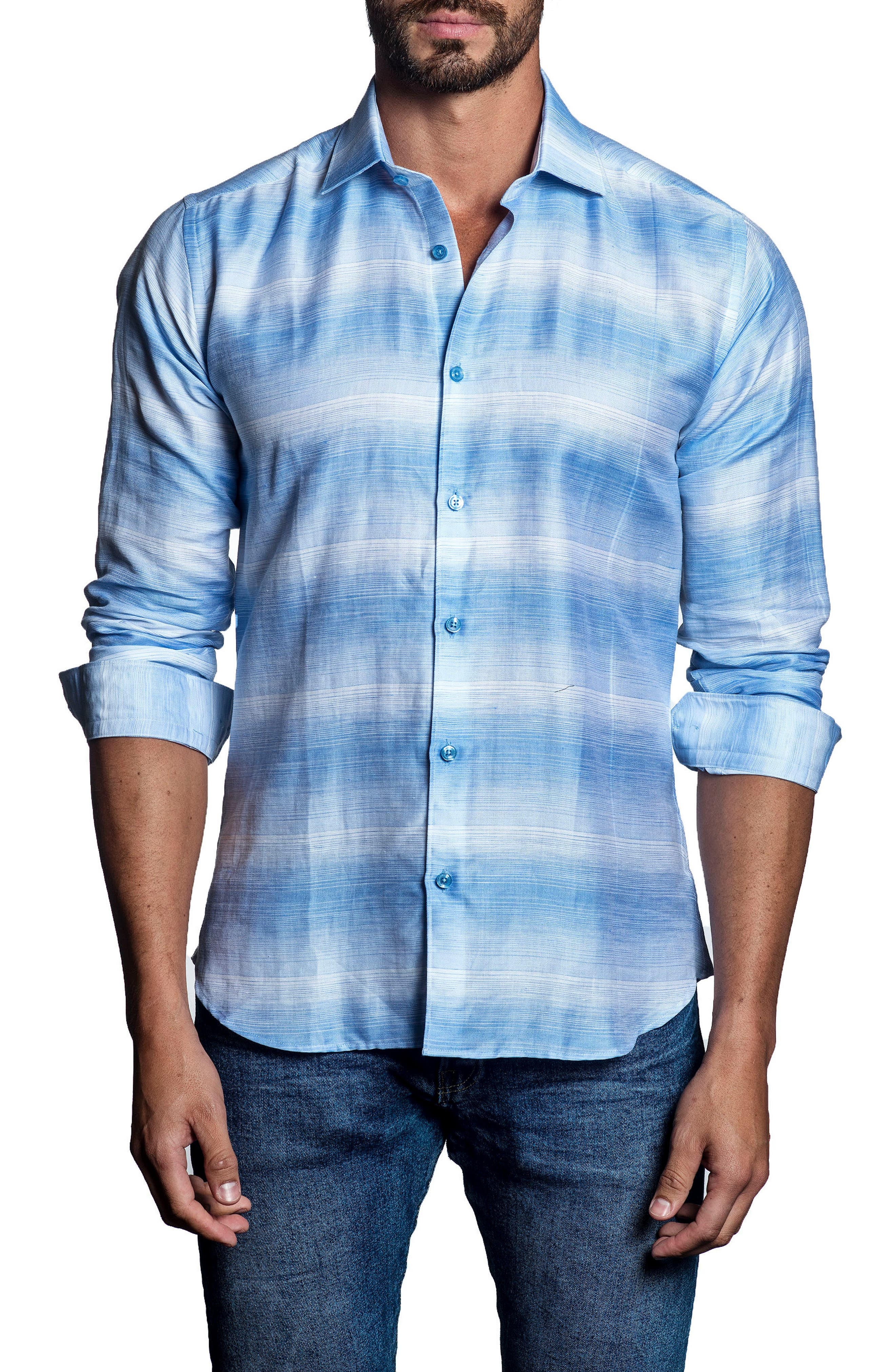 Alternate Image 1 Selected - Jared Lang Slim Fit Stripe Sport Shirt
