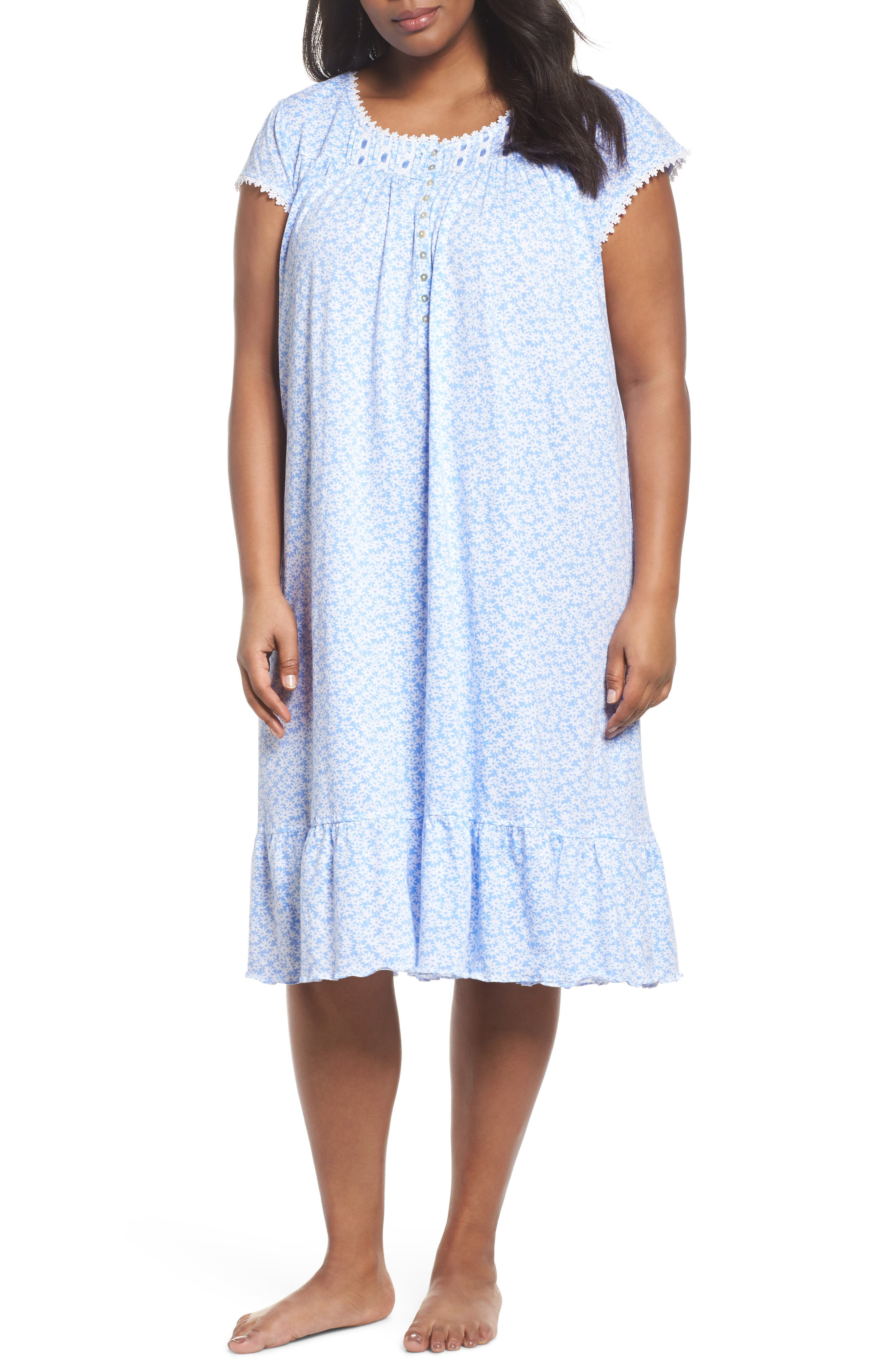 Cotton Jersey Waltz Nightgown,                         Main,                         color, Blue White Daisies