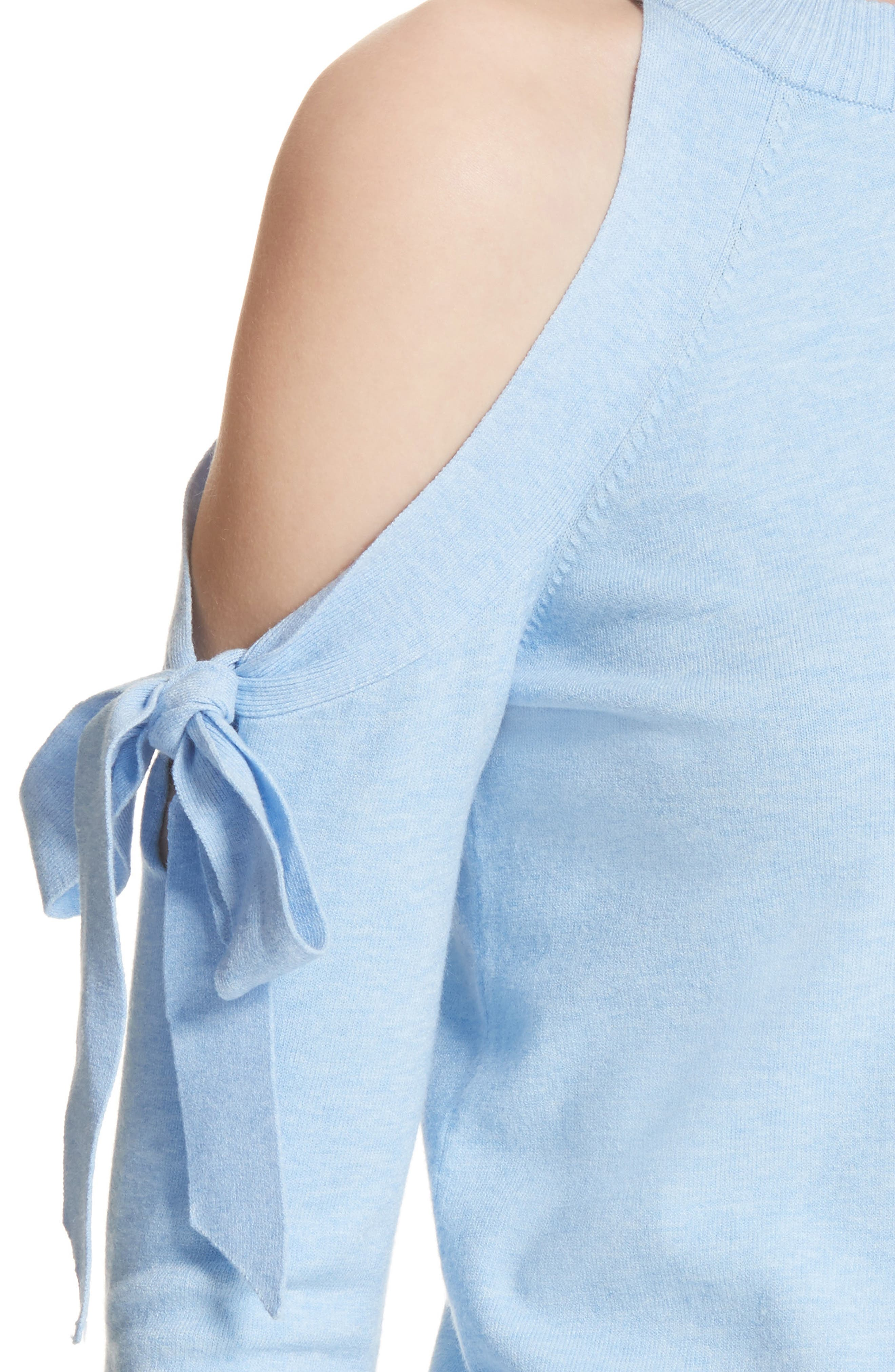 Cold Shoulder Tie Sleeve Sweater,                             Alternate thumbnail 4, color,                             Chambray