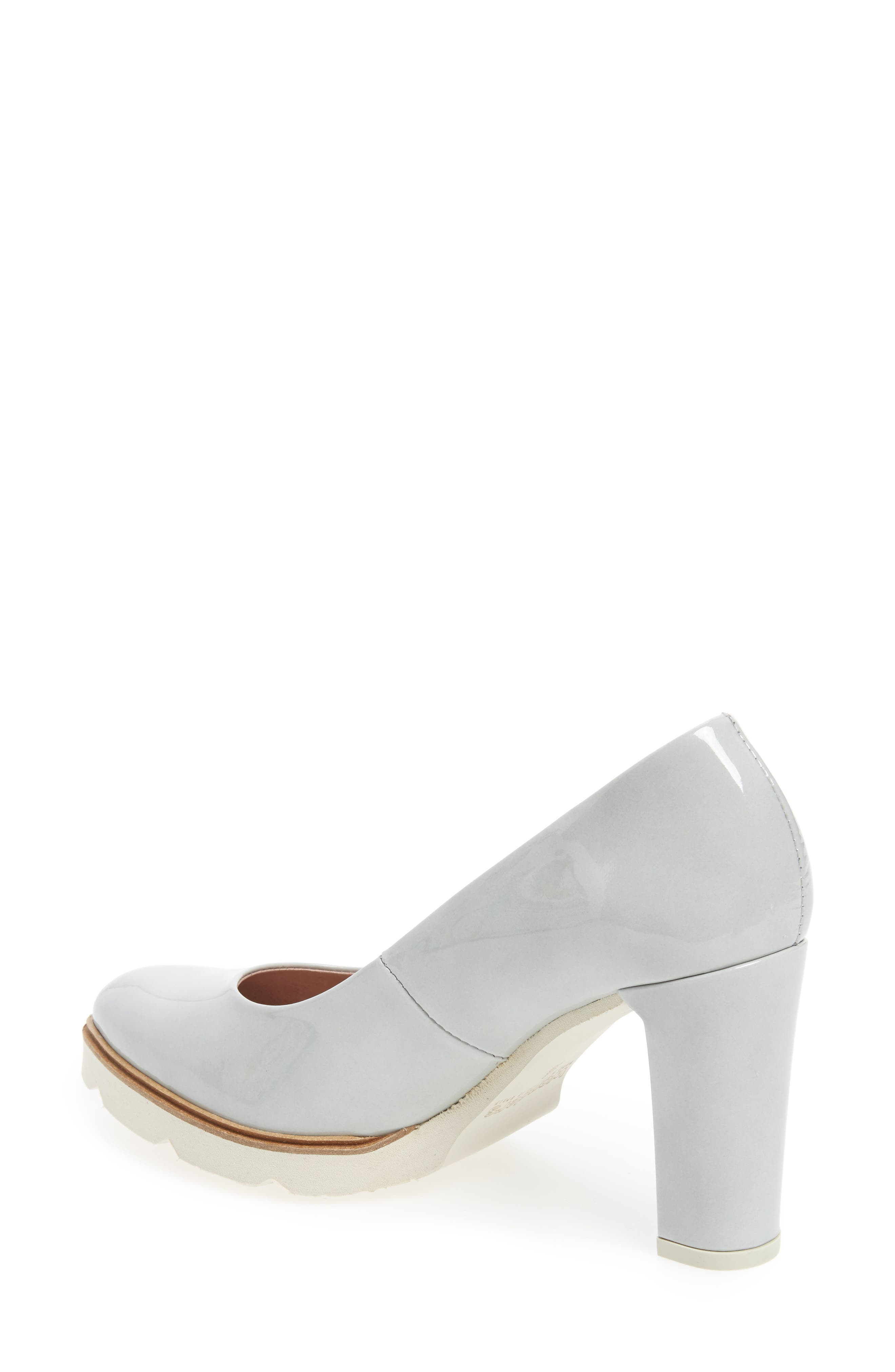 Block Heel Pump,                             Alternate thumbnail 2, color,                             Light Grey Leather