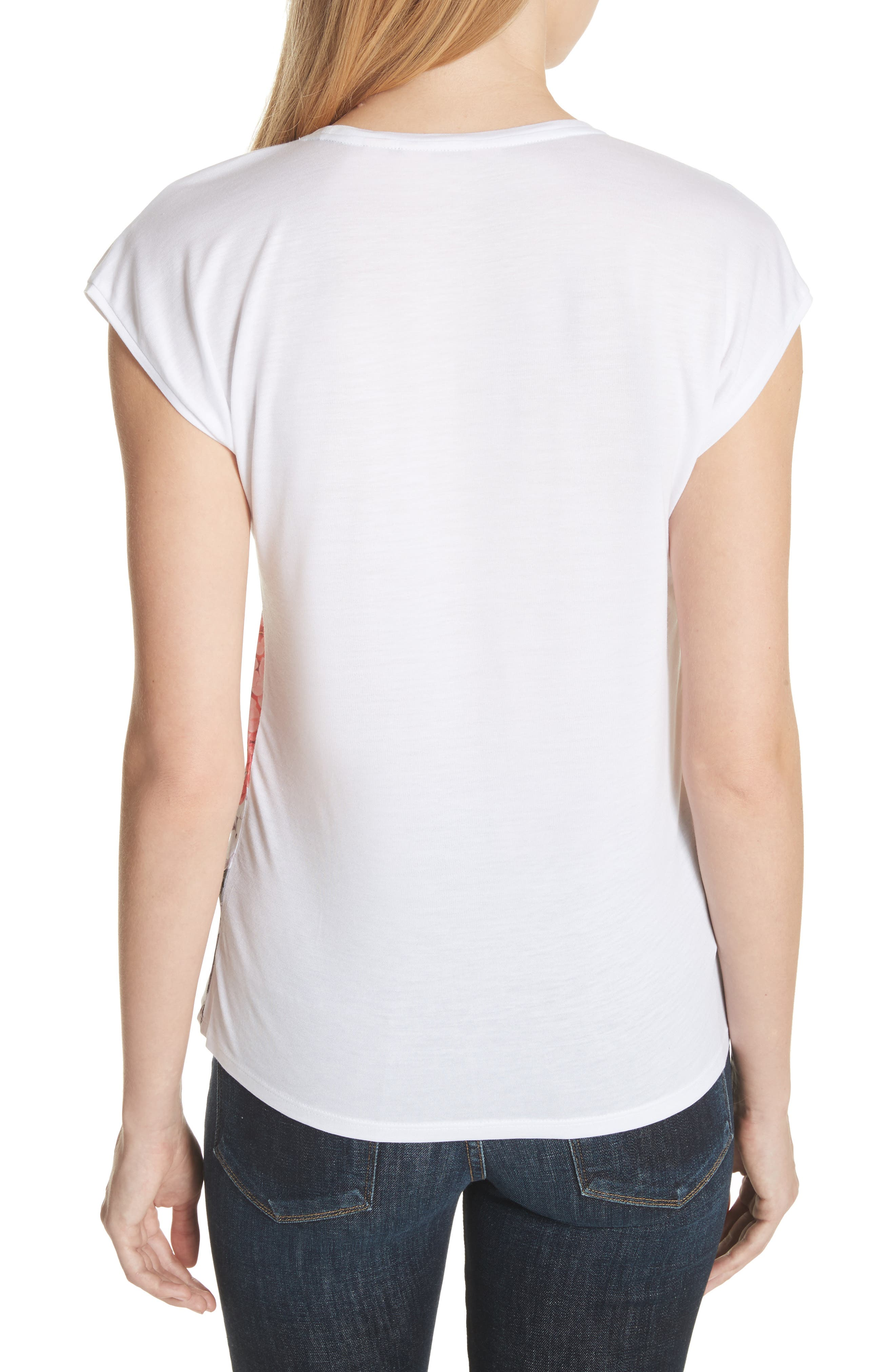 Palace Gardens Woven Front Tee,                             Alternate thumbnail 2, color,                             White