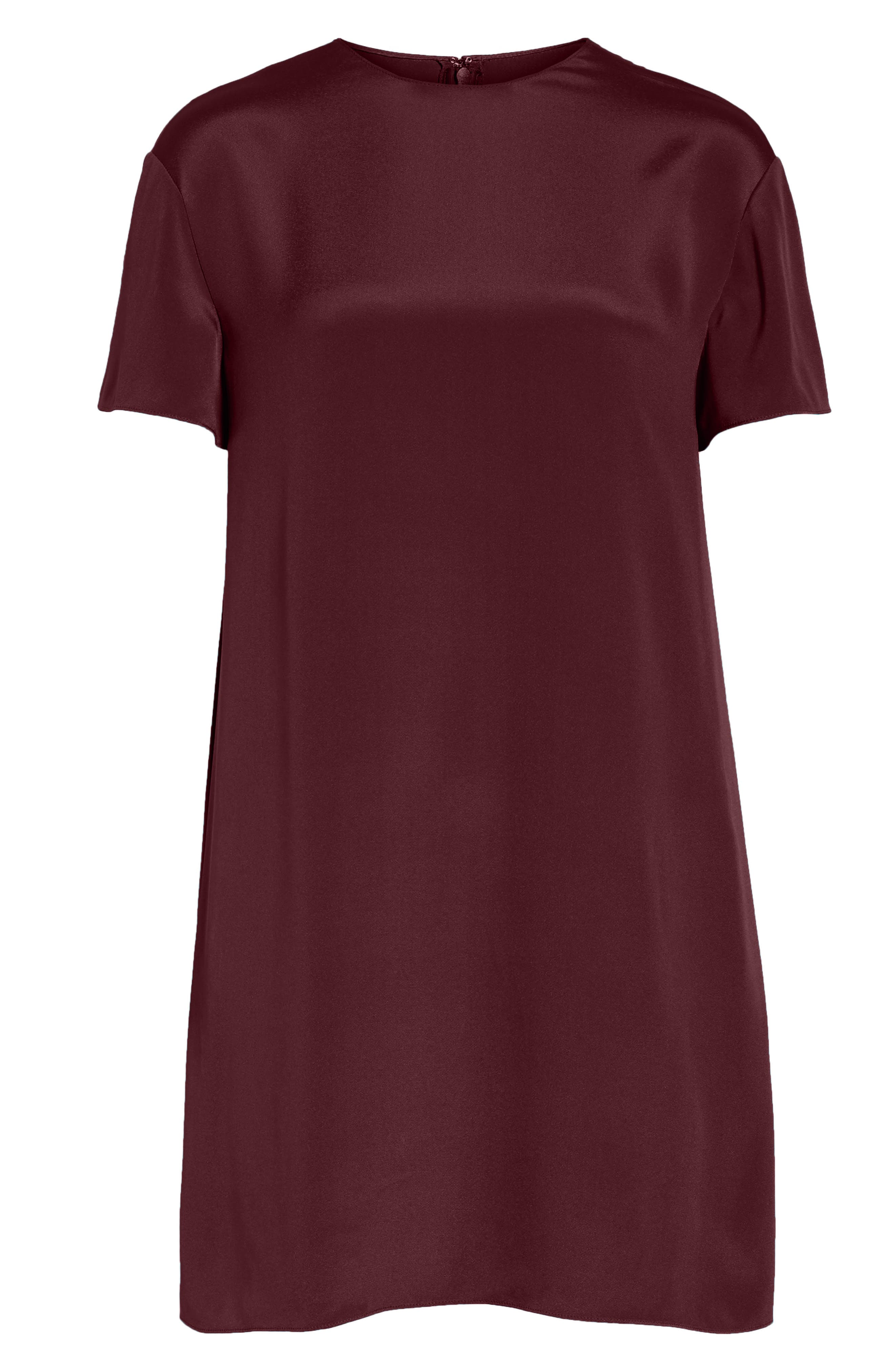 Silk Shift Dress,                             Alternate thumbnail 6, color,                             Burgundy / Ivory