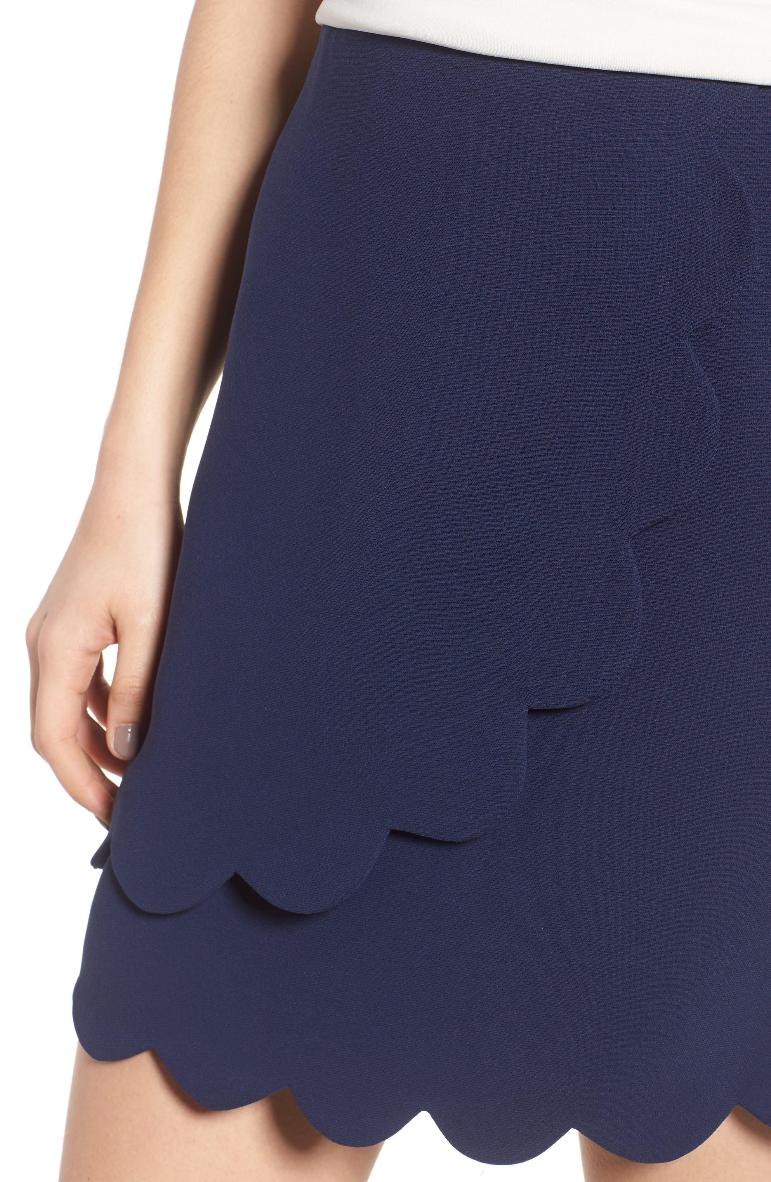 Scallop Skirt,                             Alternate thumbnail 4, color,                             Navy