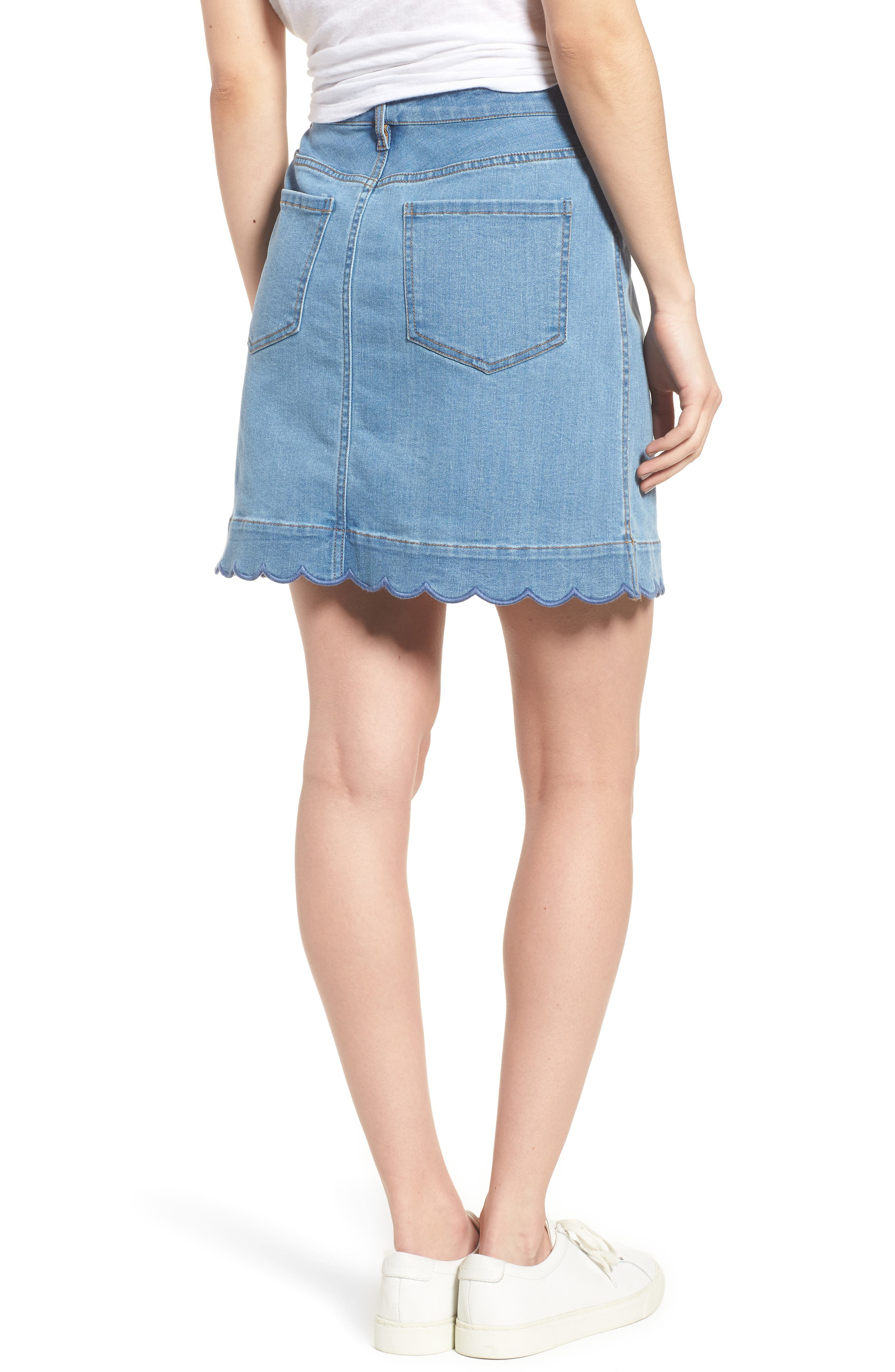 Scallop Denim Skirt,                             Alternate thumbnail 2, color,                             Blue