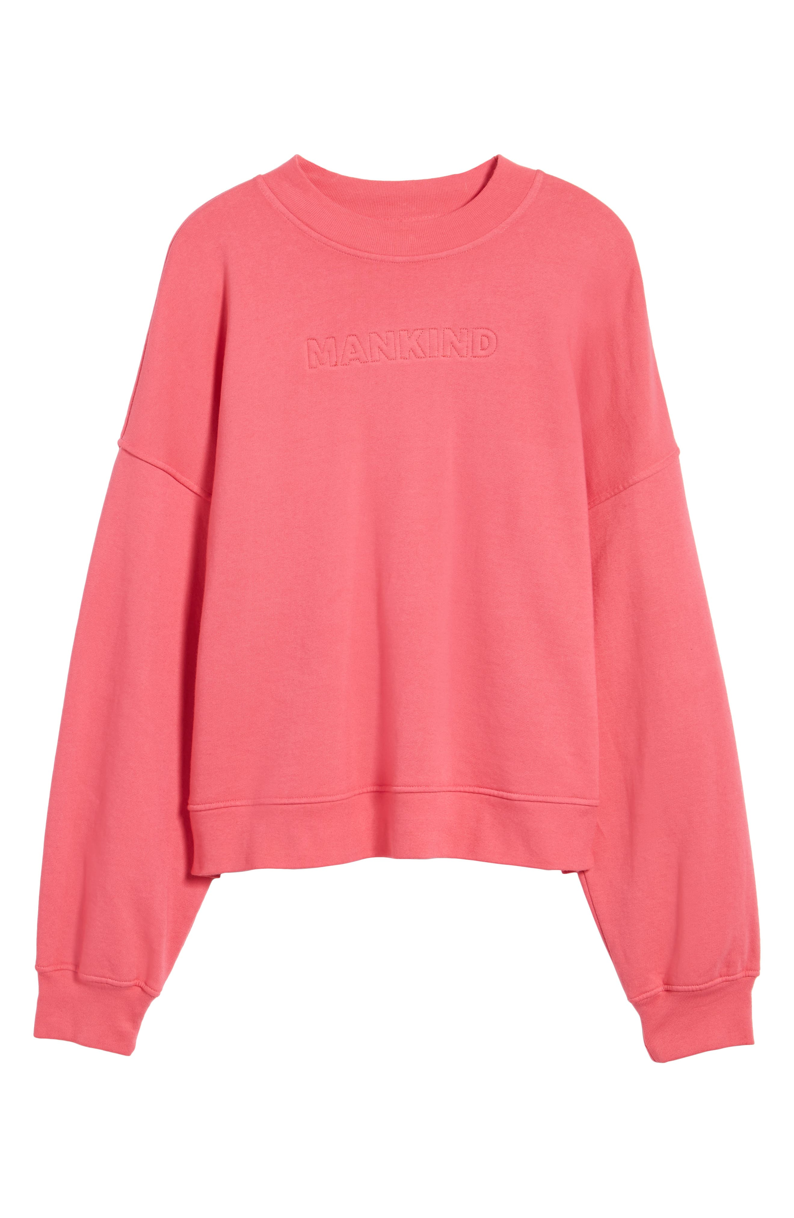 Mankind Outline Embroidered Sweatshirt,                             Alternate thumbnail 6, color,                             Honeysuckle