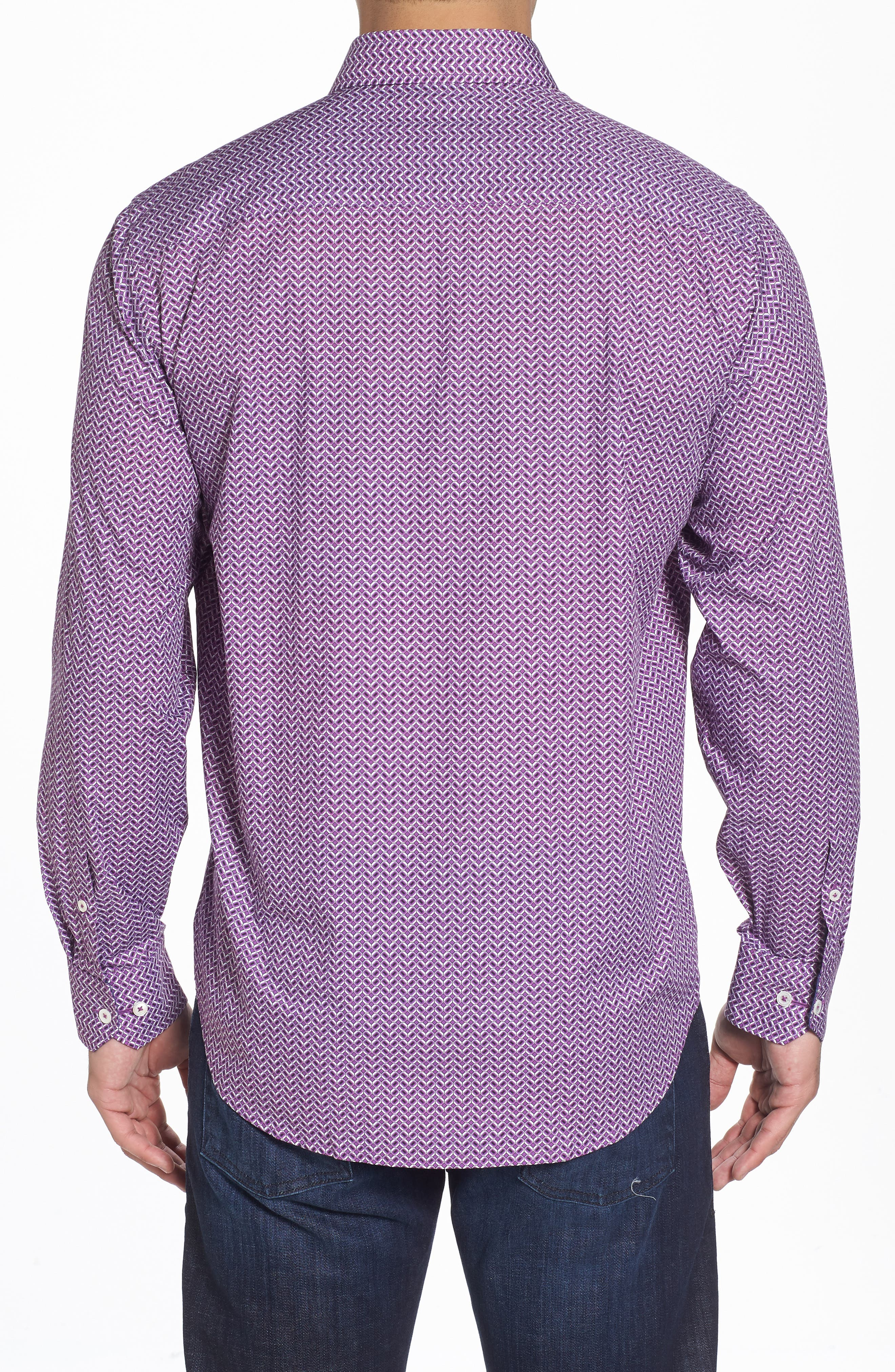 Classic Fit Print Sport Shirt,                             Alternate thumbnail 2, color,                             Plum