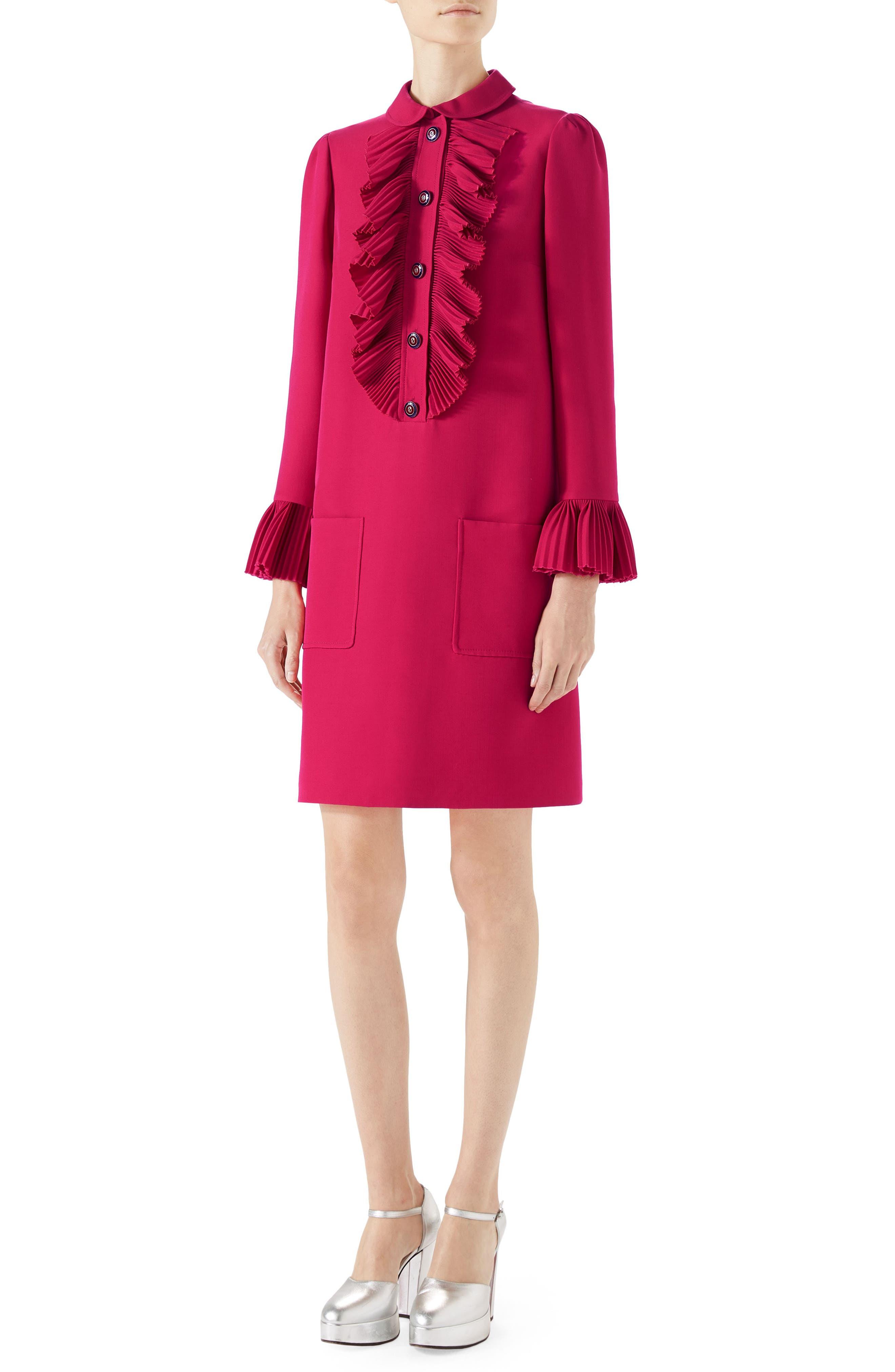 Plissé Ruffle Cady Crepe Dress,                             Main thumbnail 1, color,                             Rubine Deep Pink