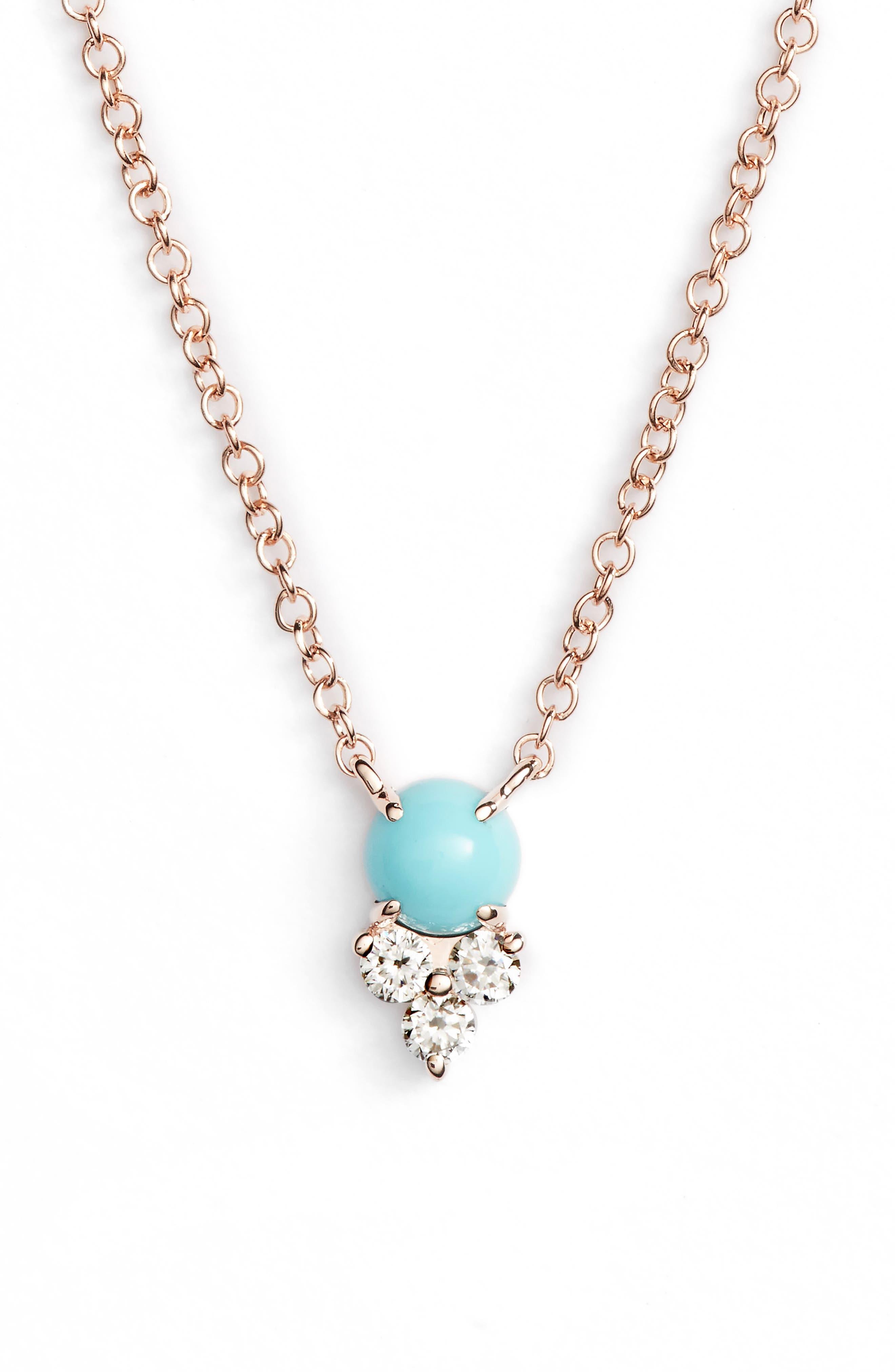 Diamond Trio Stone Pendant Necklace,                         Main,                         color, Rose Gold/ Turquoise