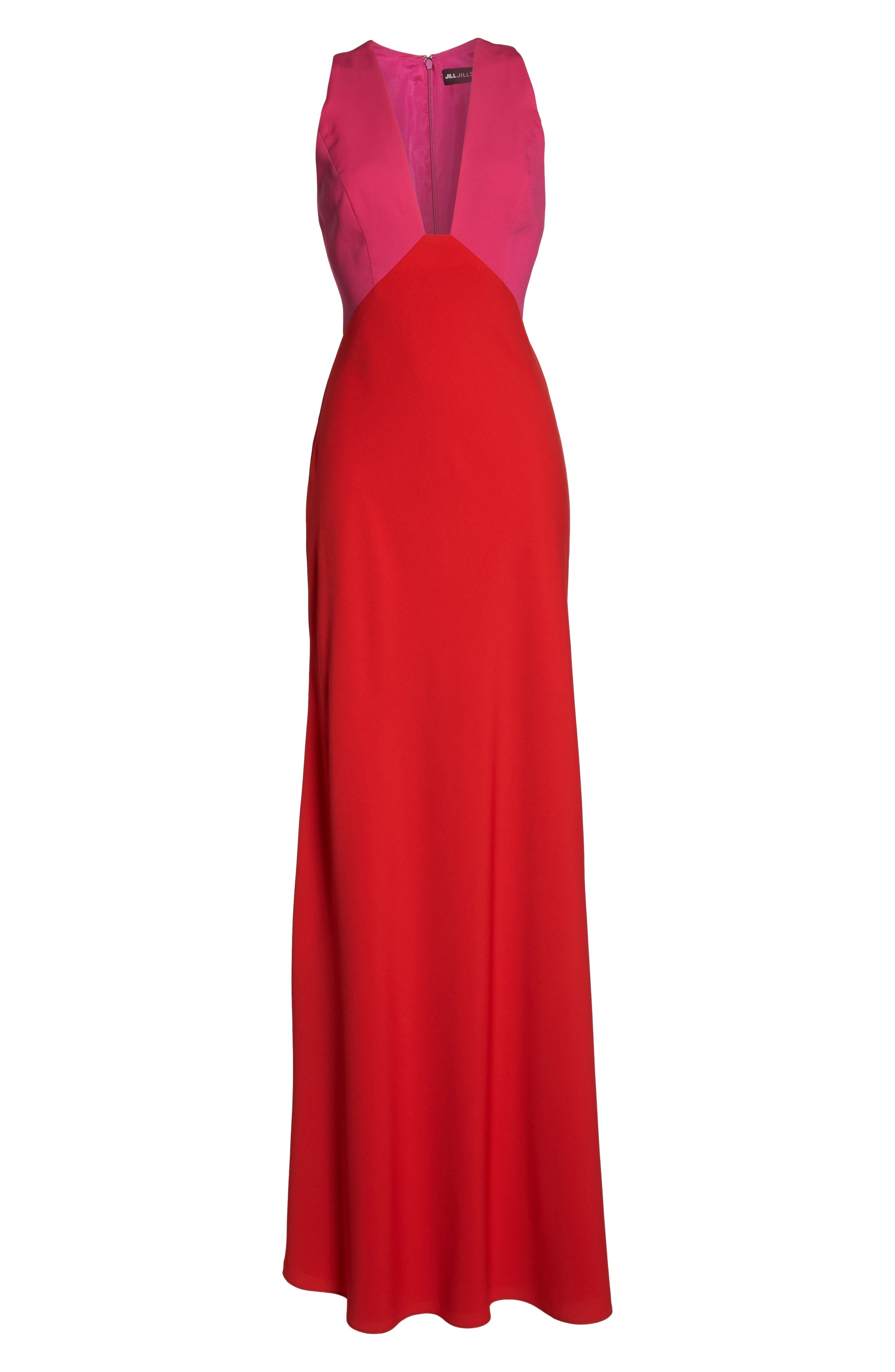 Colorblock Column Gown,                             Alternate thumbnail 6, color,                             Begonia Pink/ Poppy Red