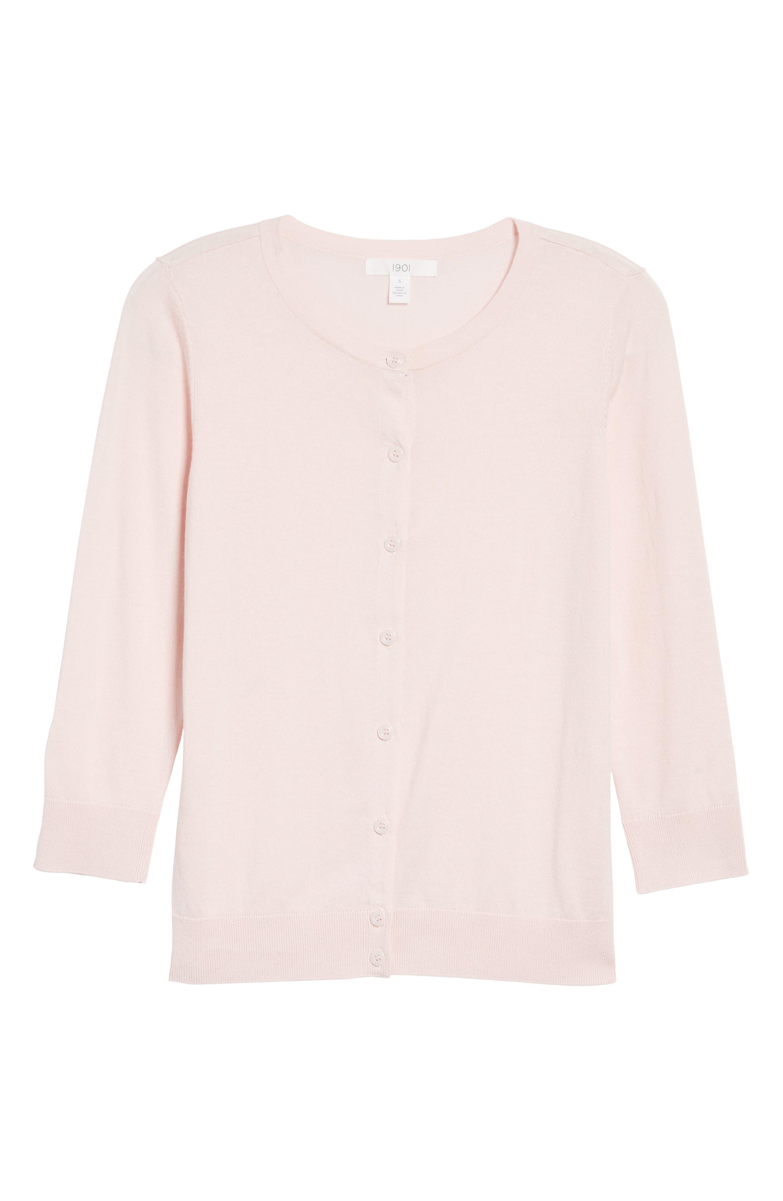 Cotton Blend Cardigan,                             Alternate thumbnail 3, color,                             Pink Potpourri