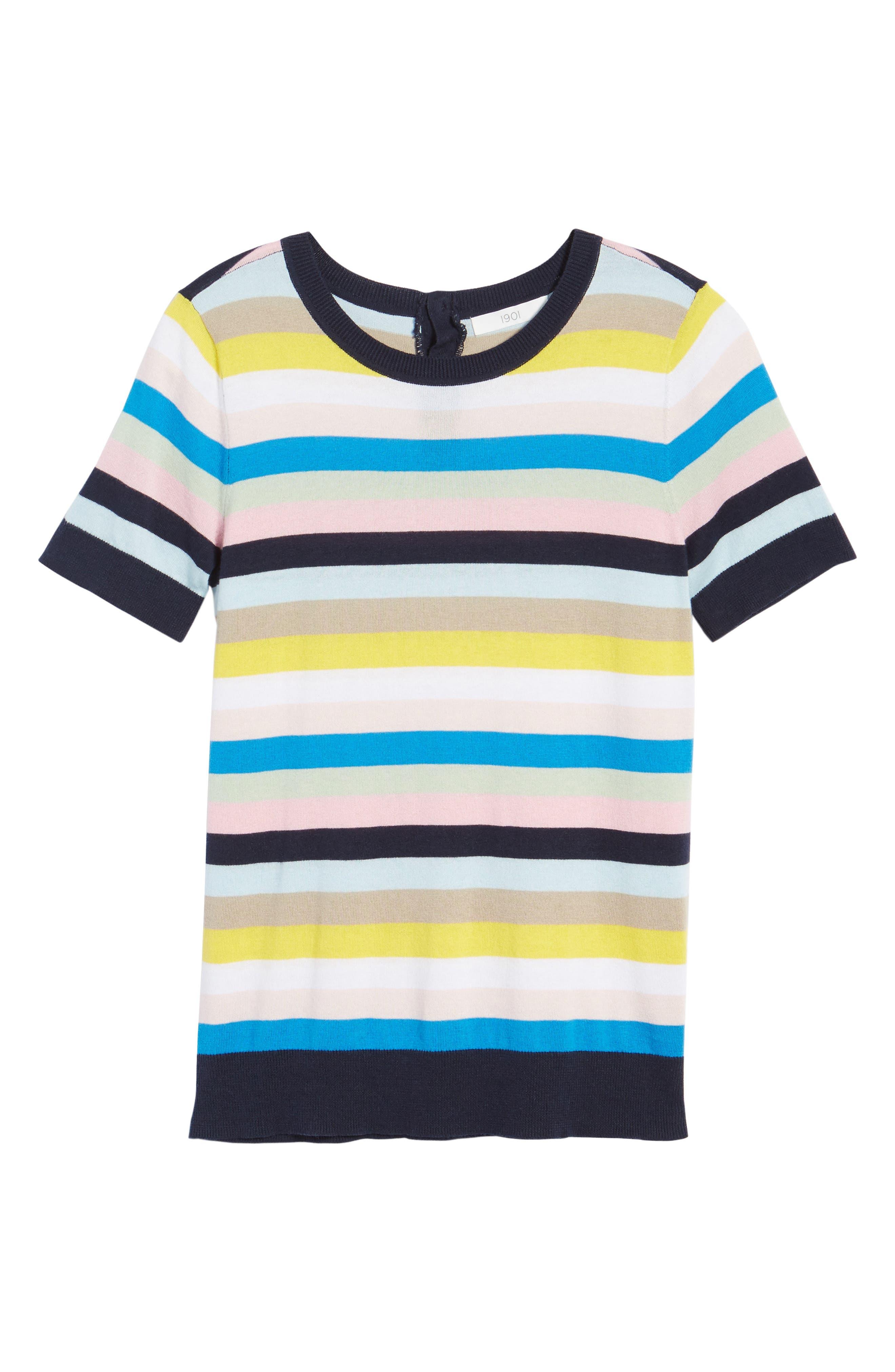 Crewneck Sweater,                             Alternate thumbnail 3, color,                             Blue Multi Stripe