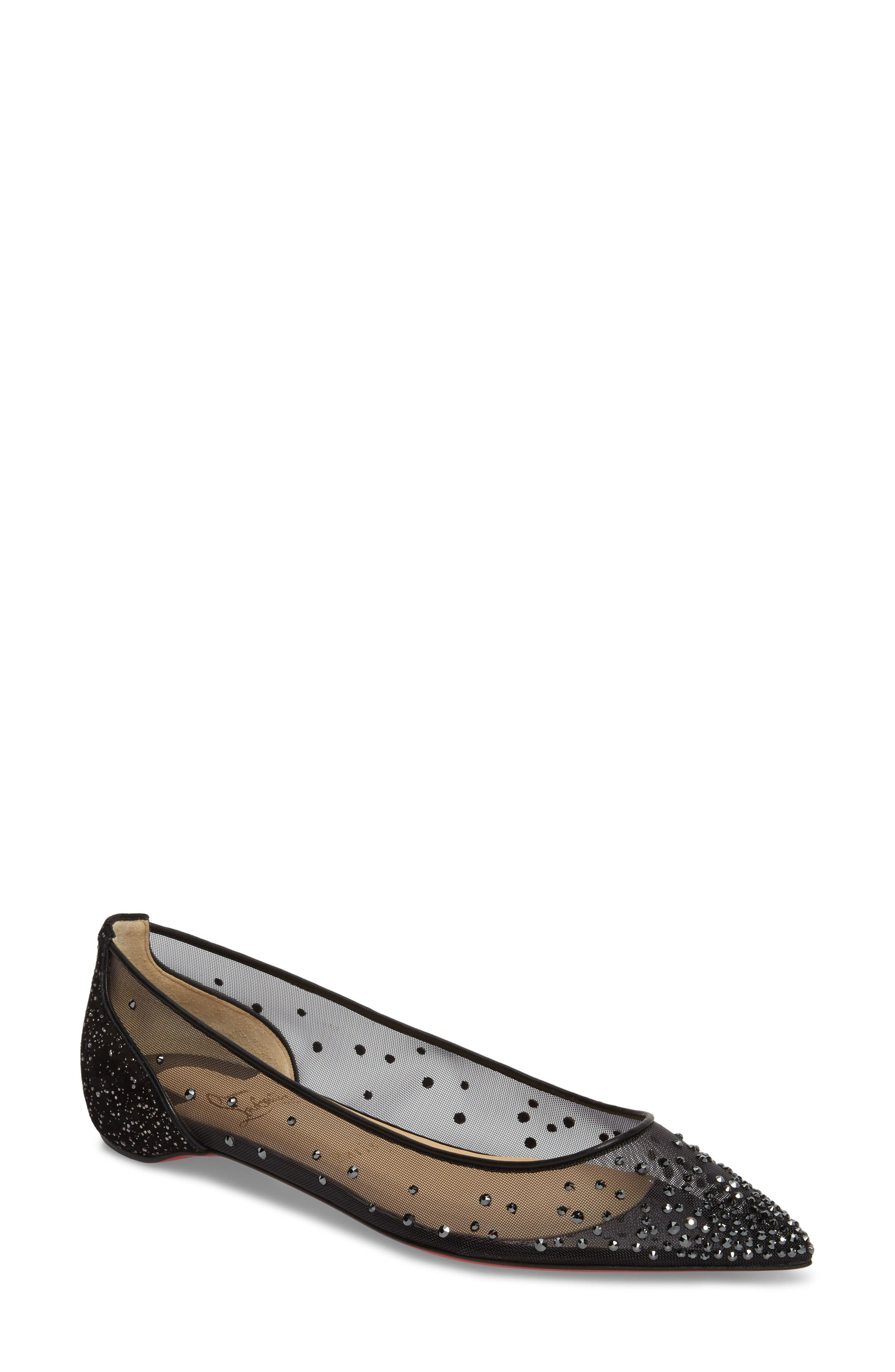 Christian Louboutin Follies Strass Crystal Embellished Flat (Women)
