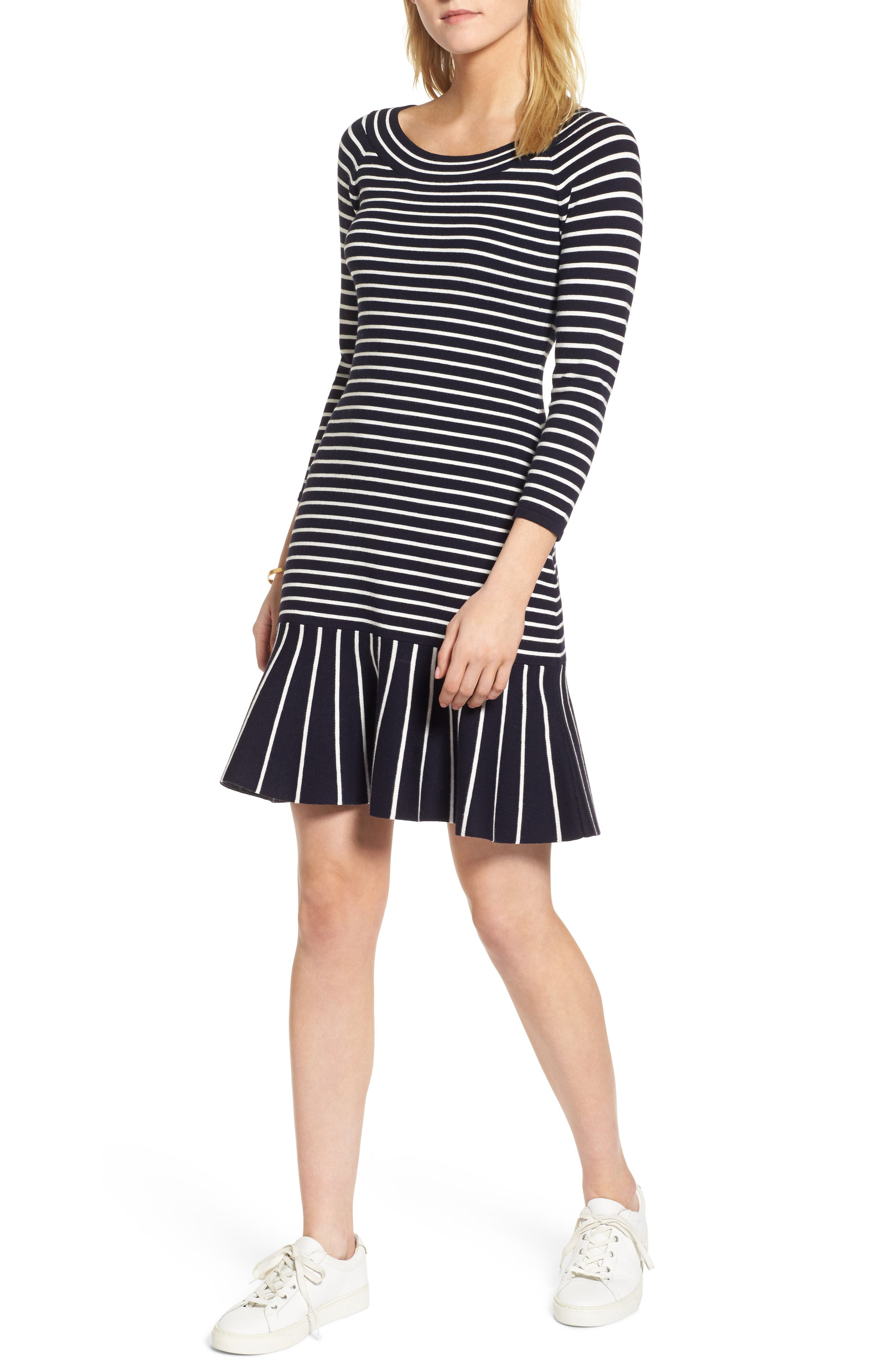 Flare Hem Ponte Dress,                         Main,                         color, Navy- White Stripe