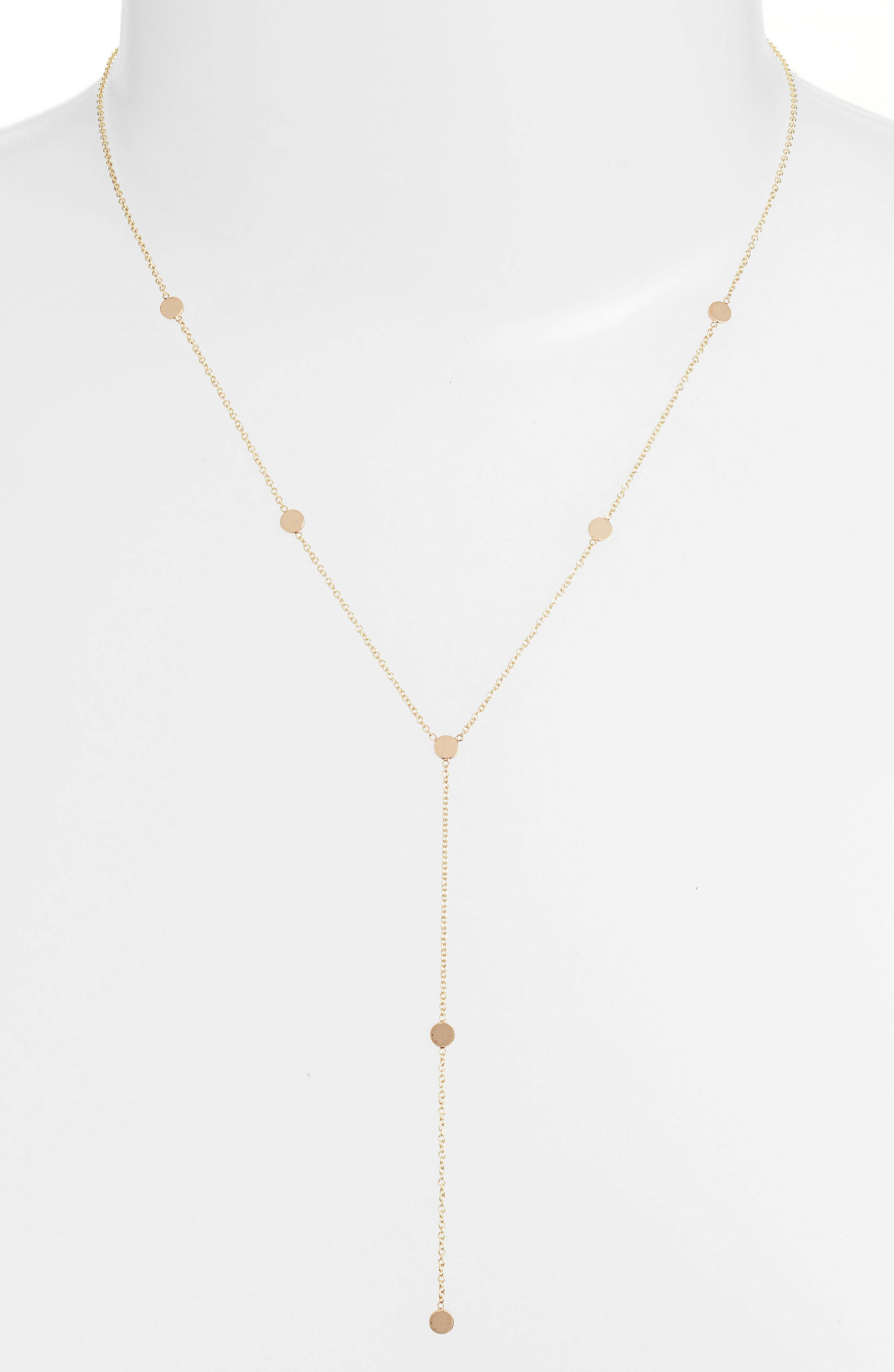 Itty Bitty Round Disk Lariat Necklace,                             Main thumbnail 1, color,                             Yellow Gold