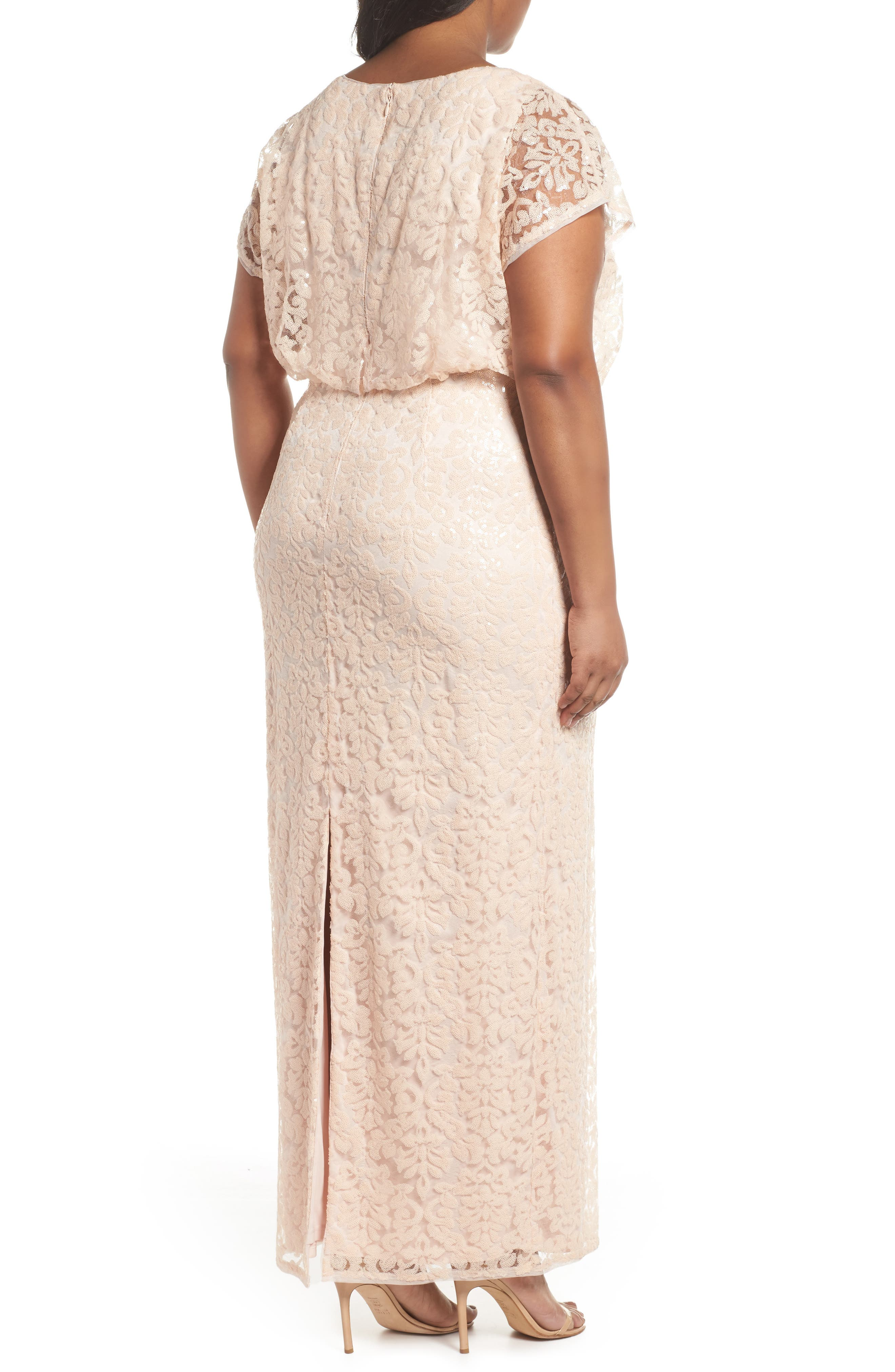 Sequin Embellished Blouson Gown,                             Alternate thumbnail 2, color,                             Blush