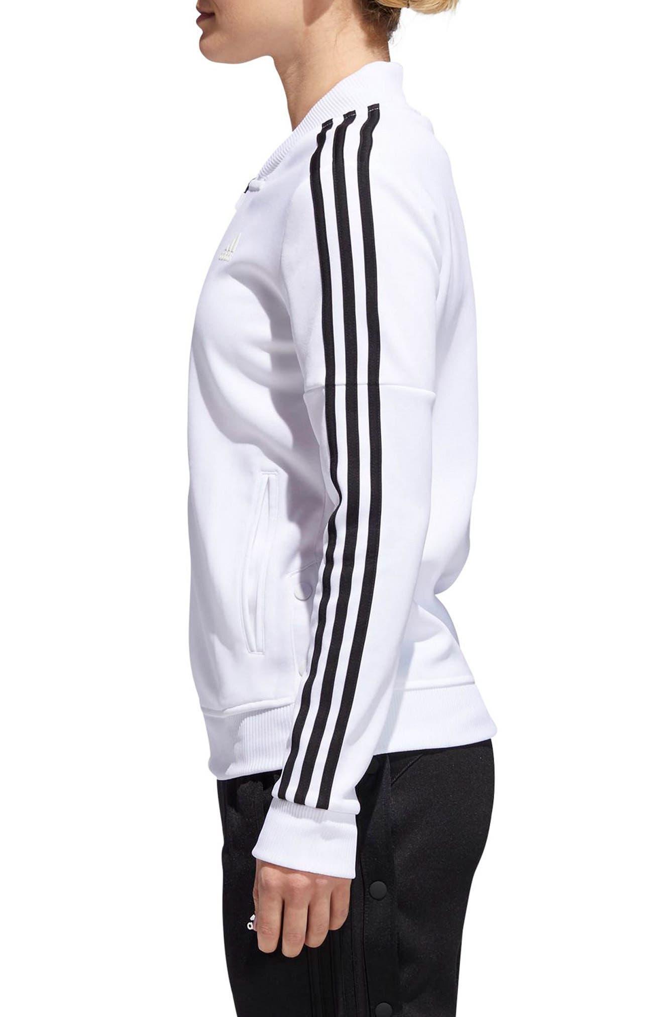 Tricot Snap It Track Jacket,                             Alternate thumbnail 3, color,                             White/ Black