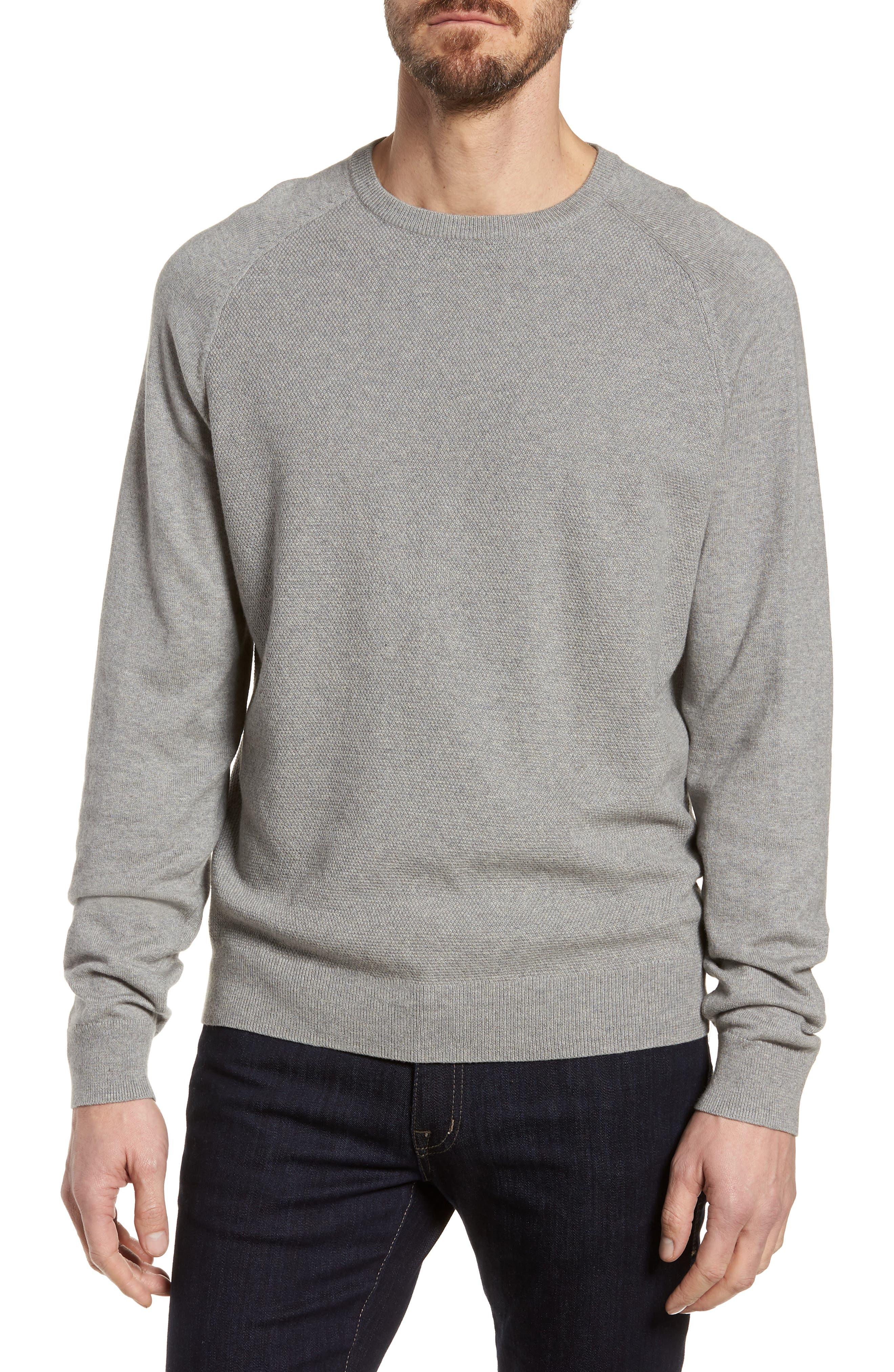 Crewneck Cotton & Cashmere Sweater,                             Main thumbnail 1, color,                             Grey Medium Heather