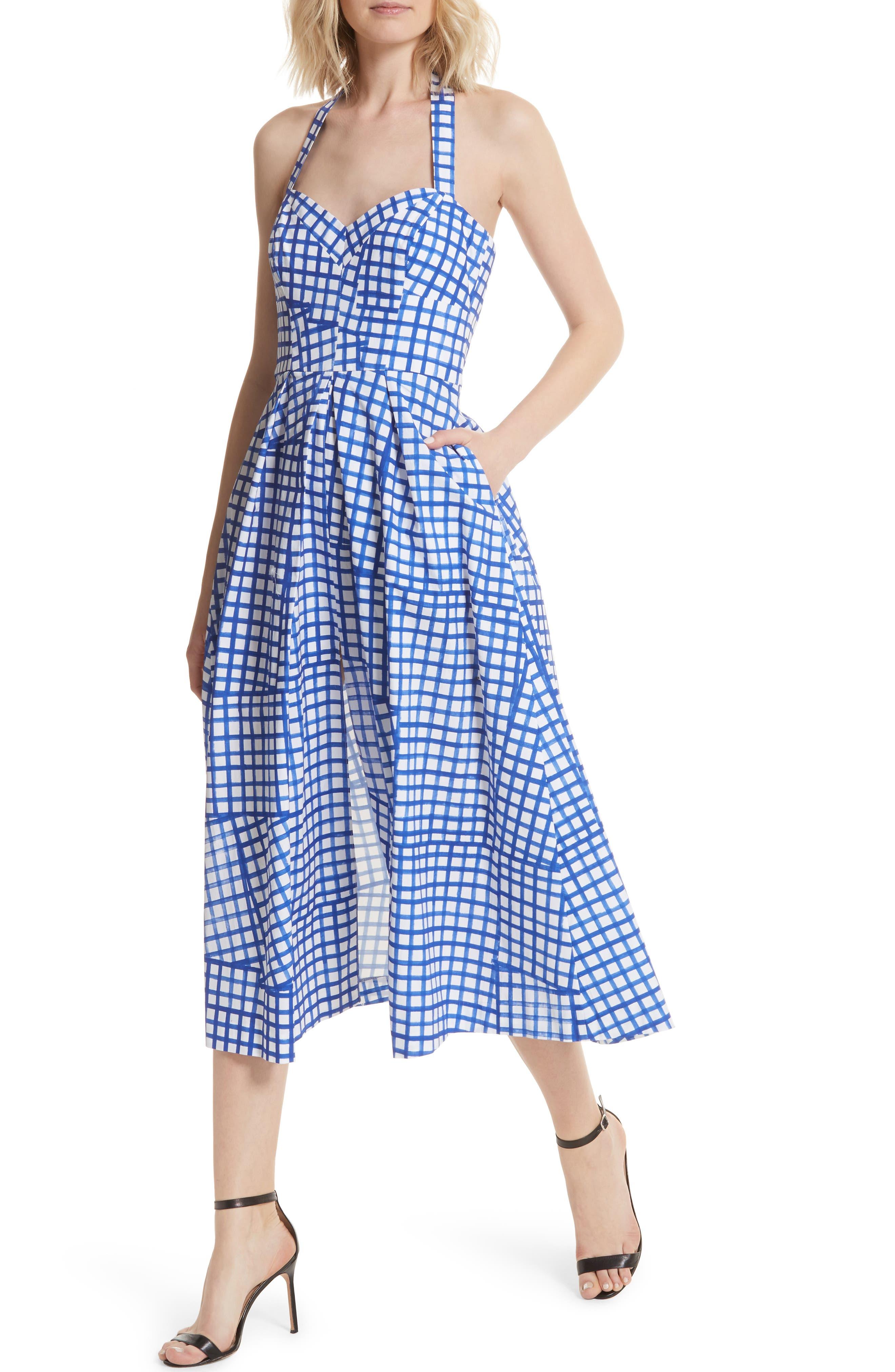 Paige Stretch Cotton Halter Dress,                             Alternate thumbnail 4, color,                             Blueberry