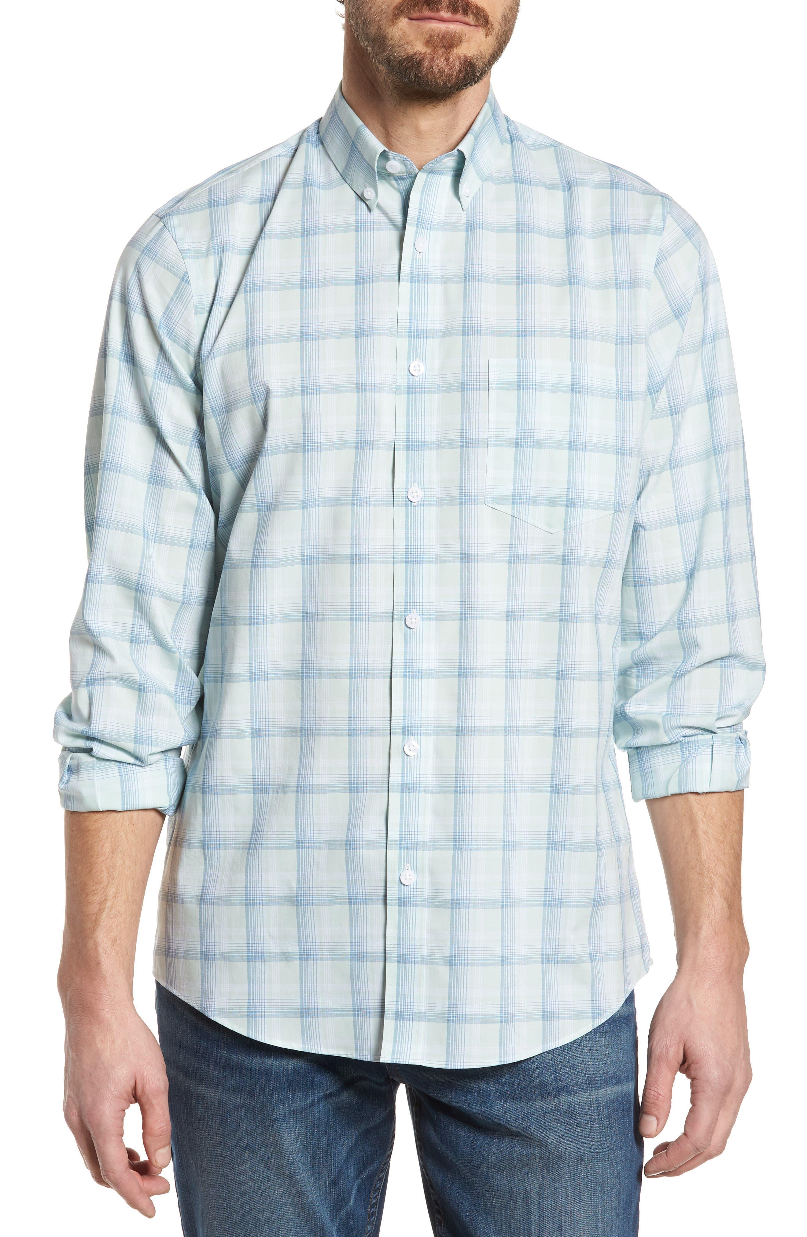 Tech-Smart Regular Fit Plaid Sport Shirt,                         Main,                         color, Teal Surf Blue Plaid