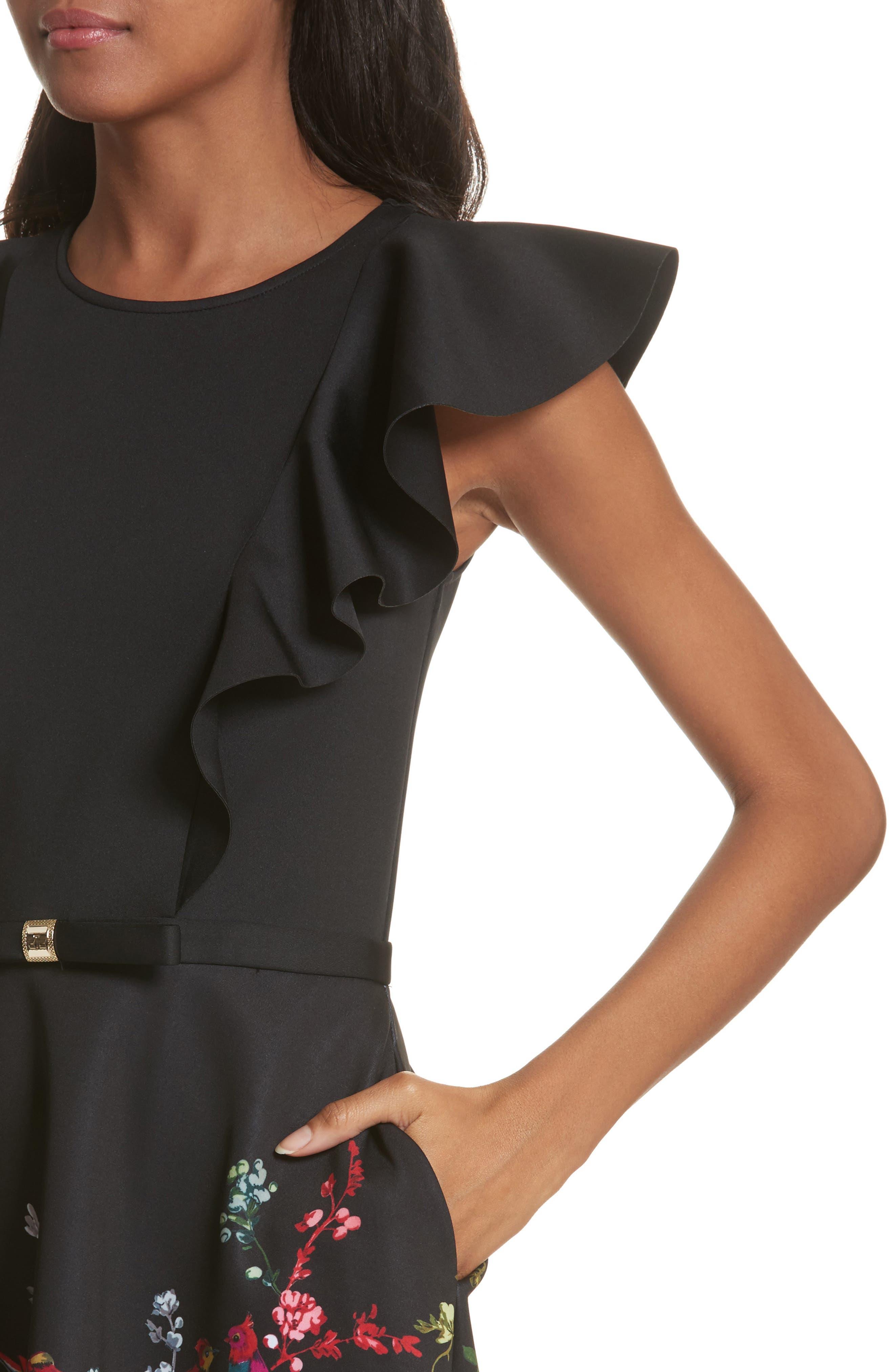 Opulent Fauna Ruffled Skater Dress,                             Alternate thumbnail 4, color,                             Black