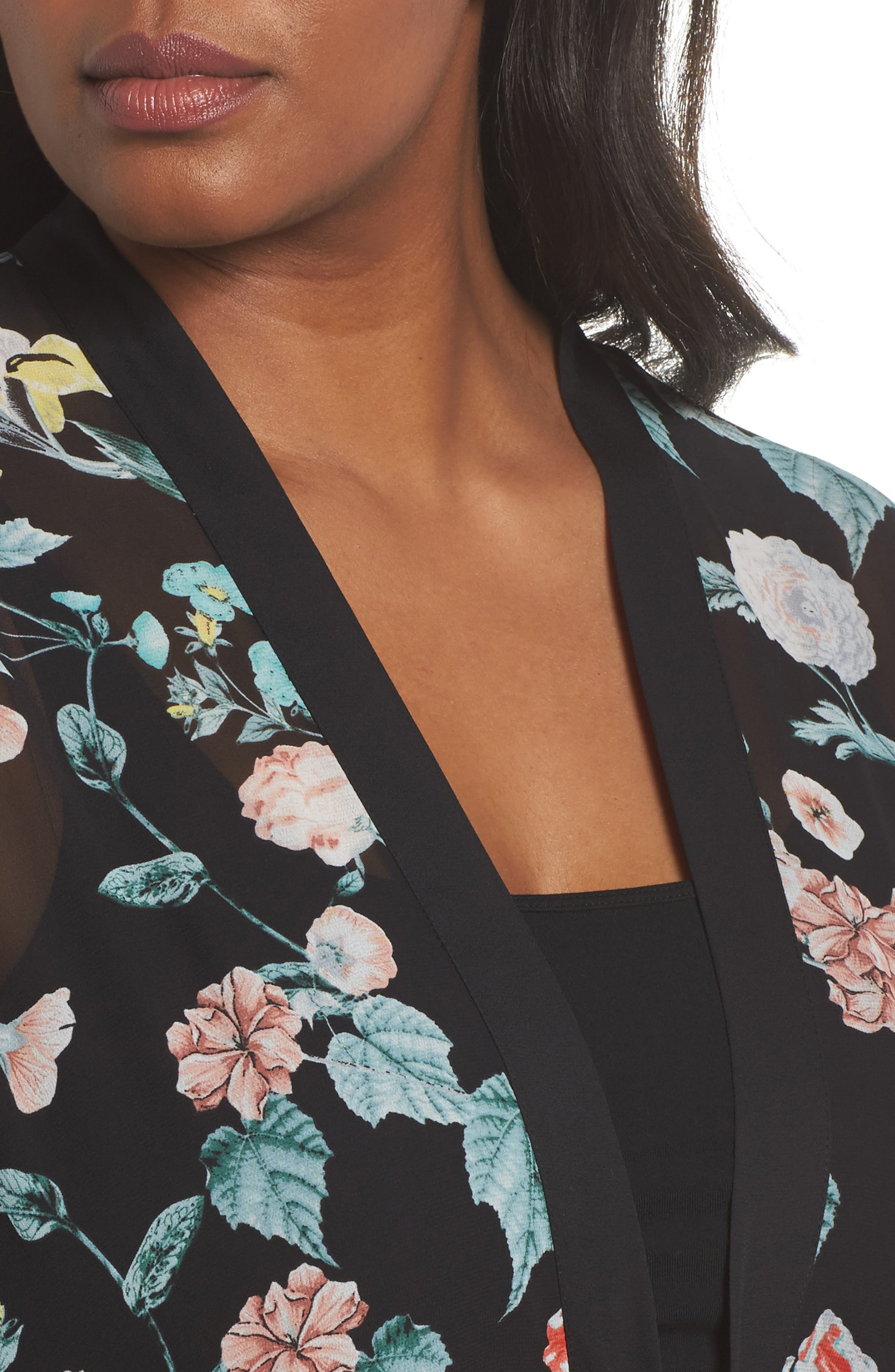 Floral Gardens Kimono Blouse,                             Alternate thumbnail 4, color,                             Rich Black