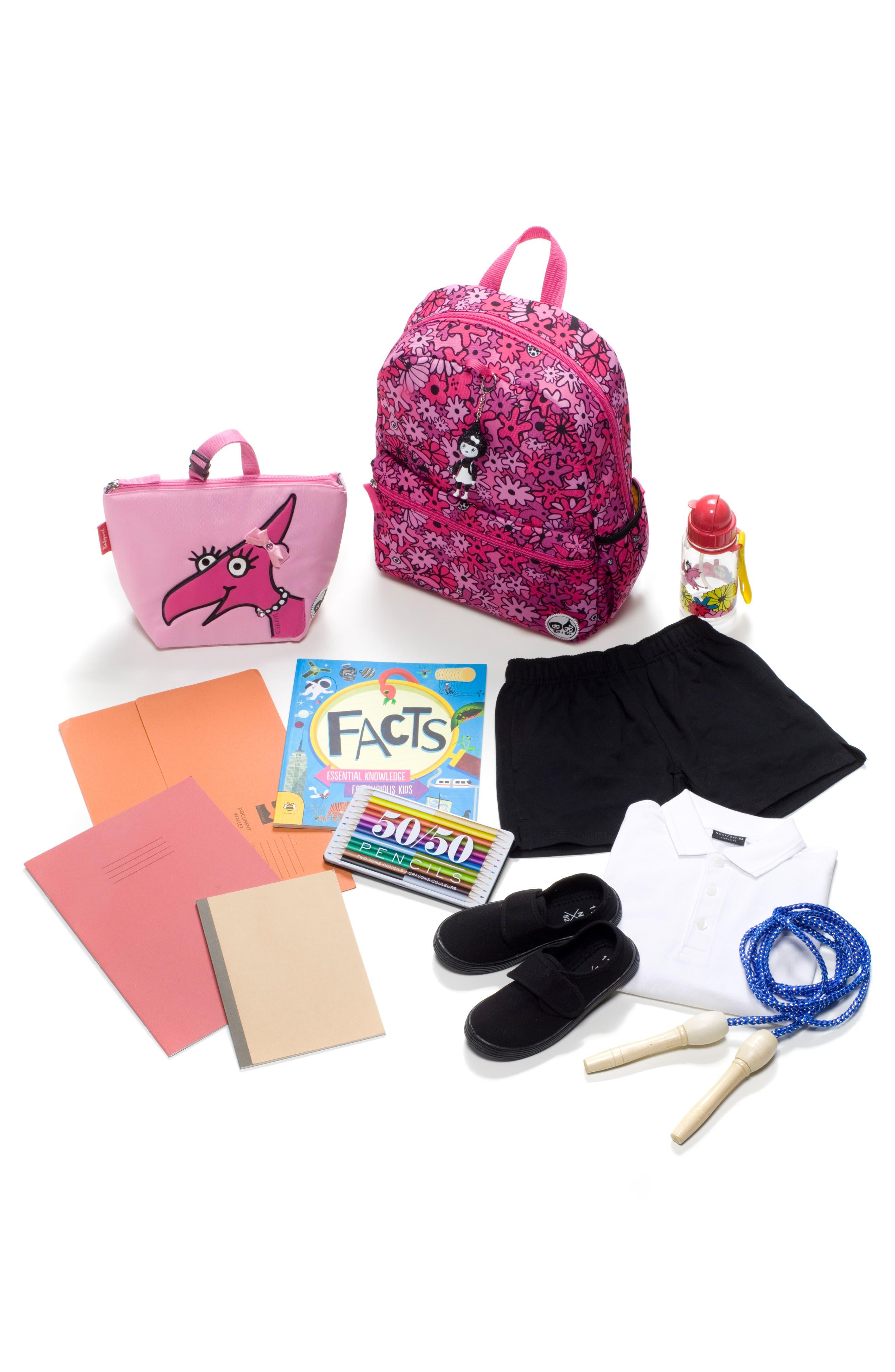 Zip & Zoe Floral Junior Backpack,                             Alternate thumbnail 4, color,                             Floral Pink