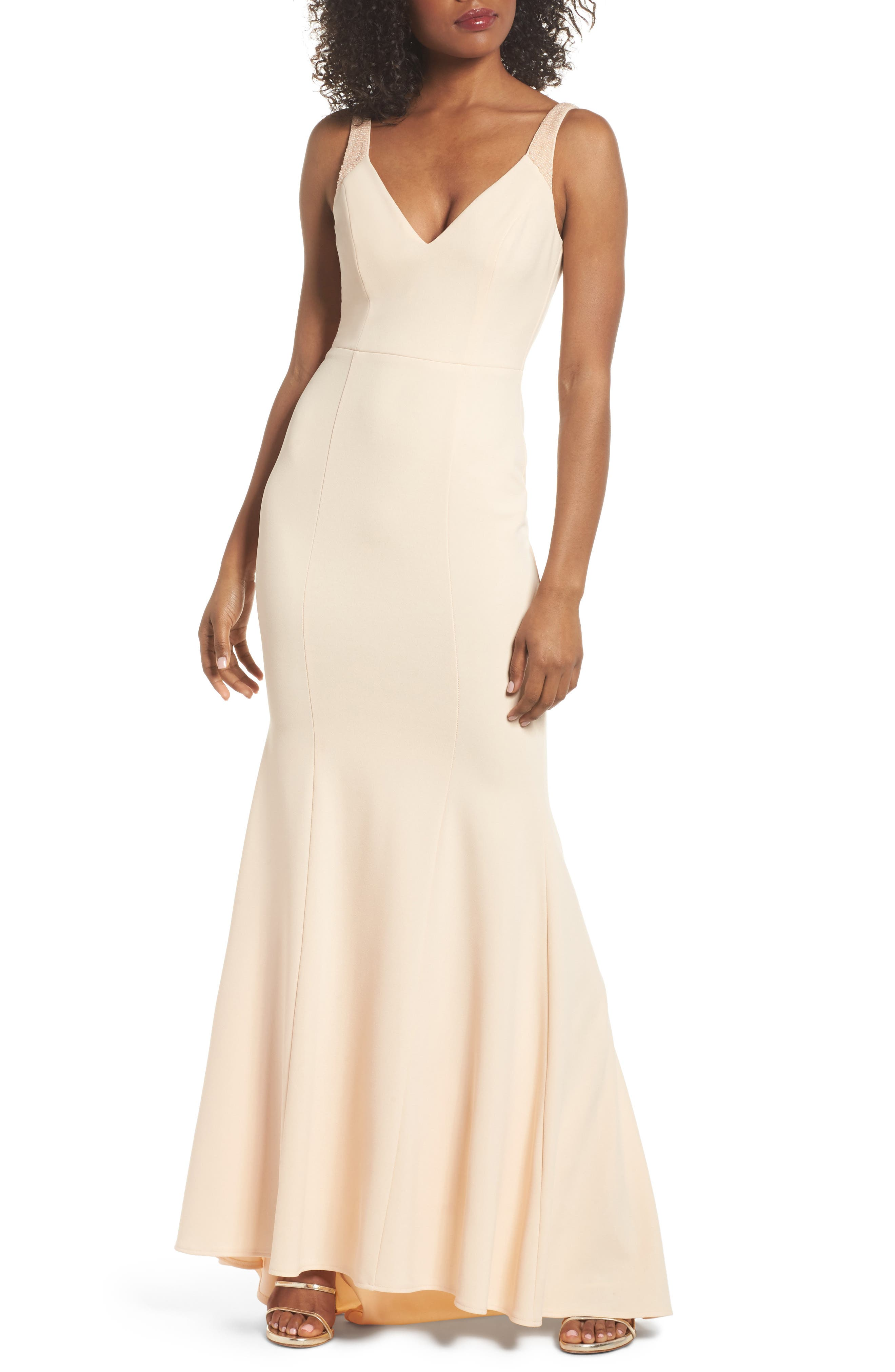 Embellished Strap Trumpet Gown,                             Main thumbnail 1, color,                             Blush