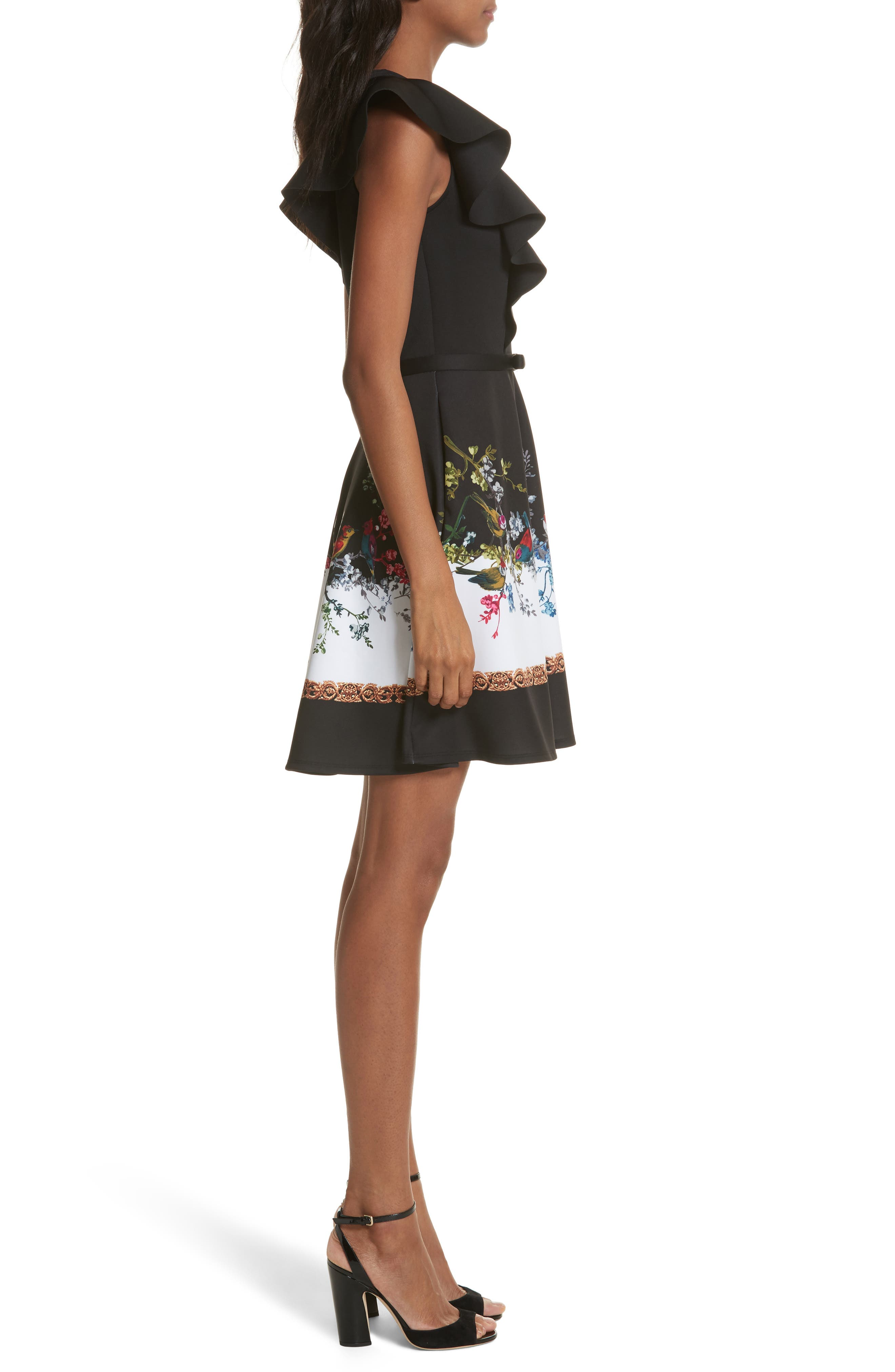 Opulent Fauna Ruffled Skater Dress,                             Alternate thumbnail 3, color,                             Black