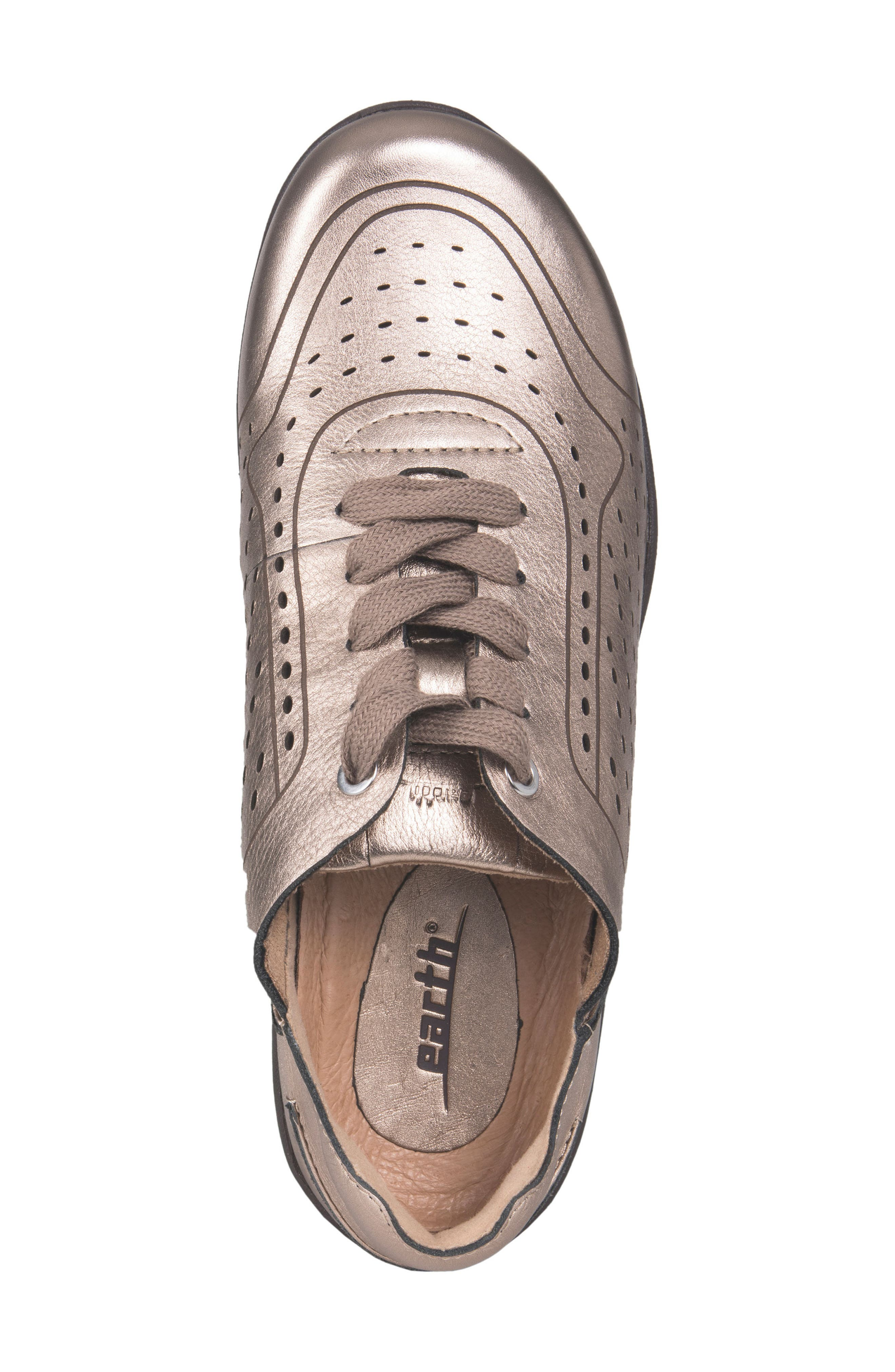 Serval Perforated Sneaker,                             Alternate thumbnail 5, color,                             Champagne Metallic Leather