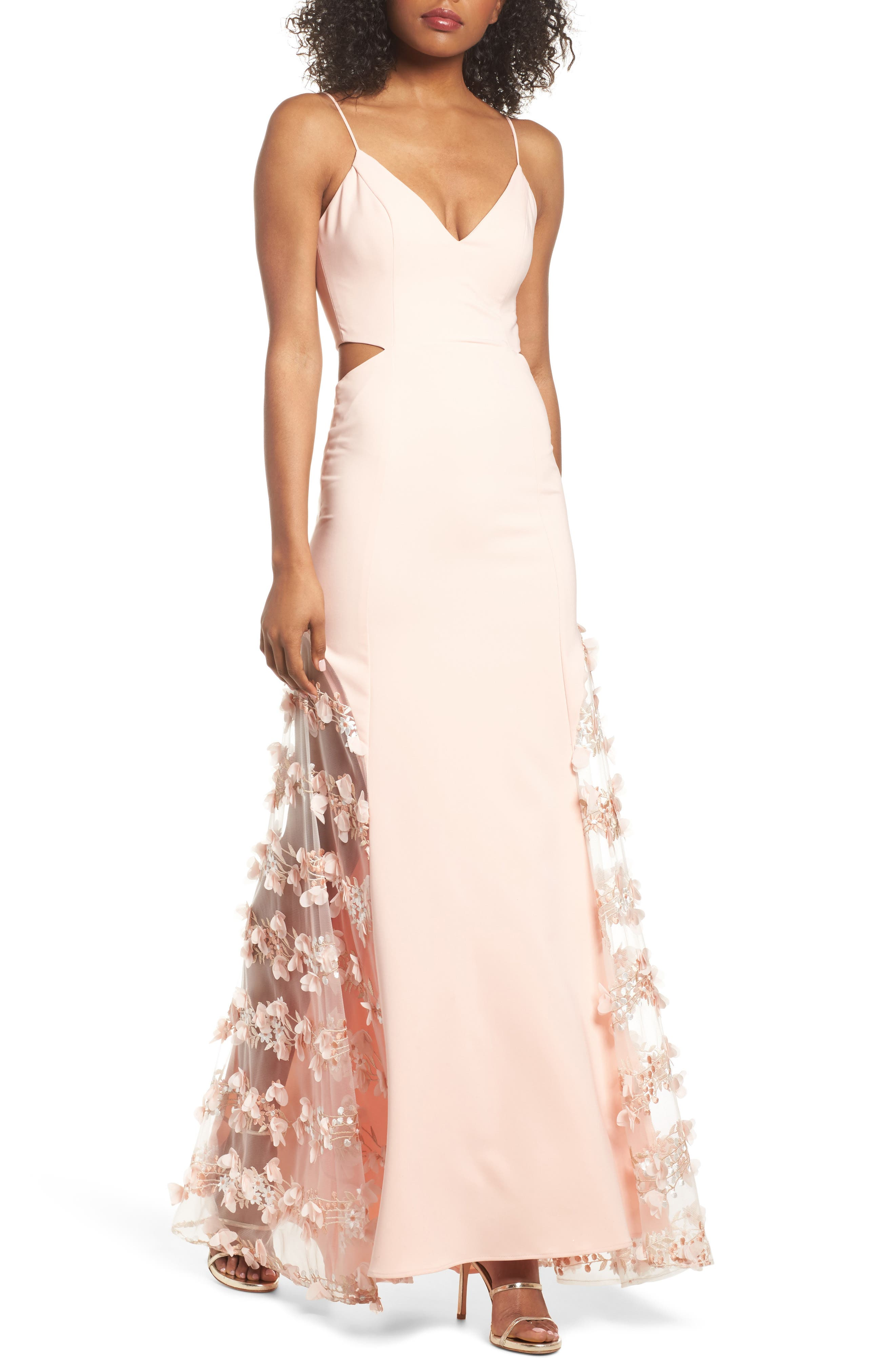ALEX SHEER PANEL A-LINE GOWN