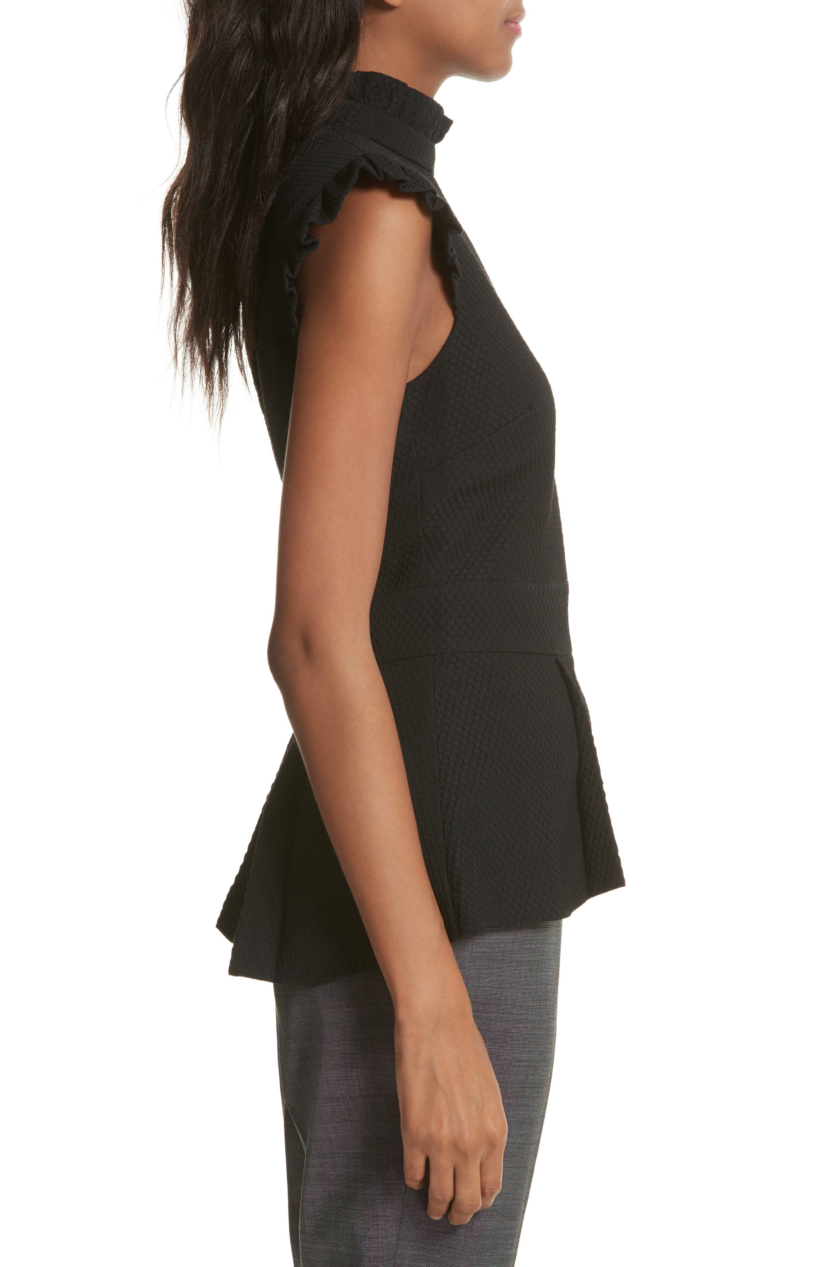 Ruffle Neck Peplum Top,                             Alternate thumbnail 3, color,                             Black