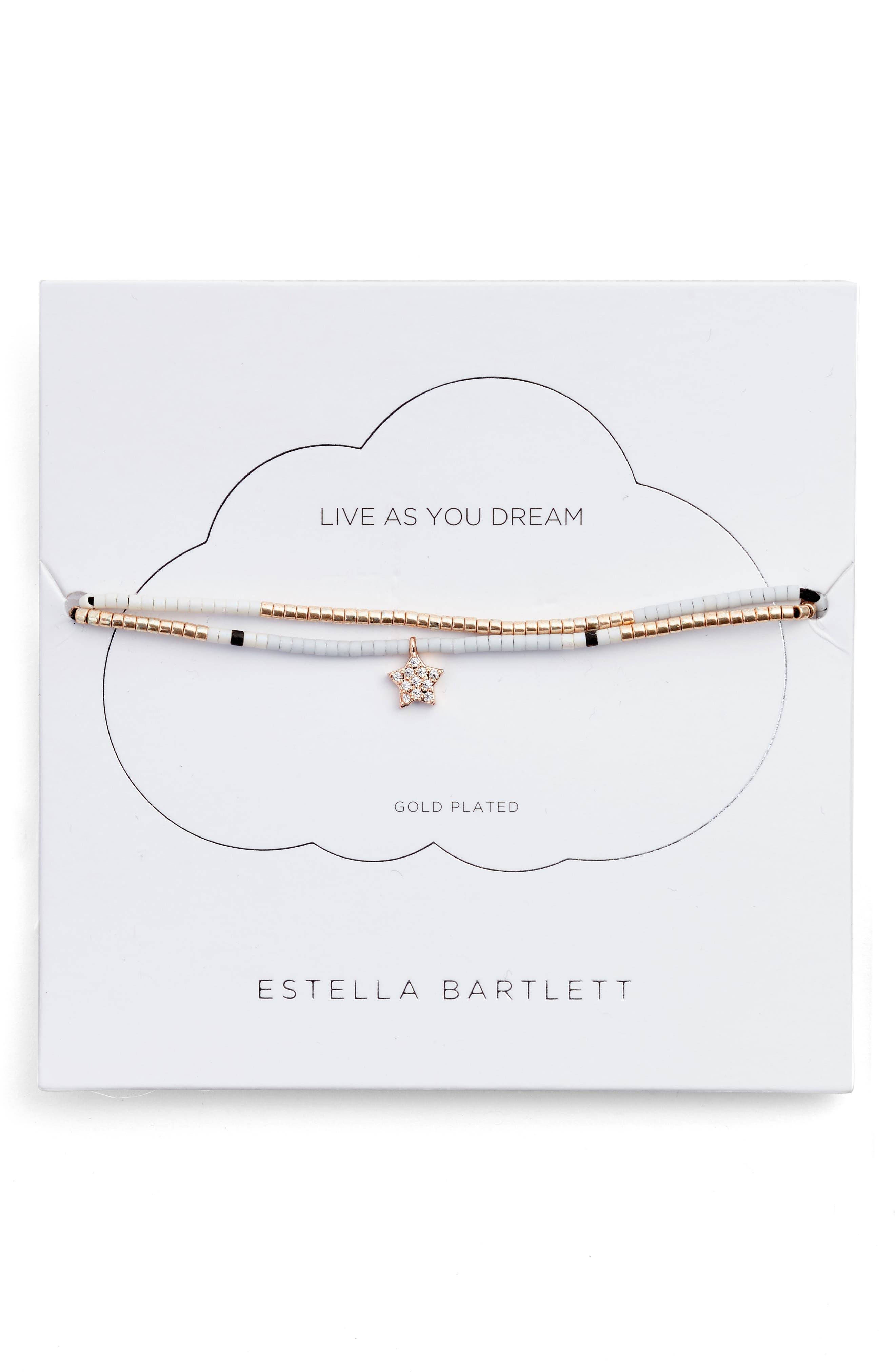 Phoebe Seed Bead Star Bracelet,                         Main,                         color, Gold